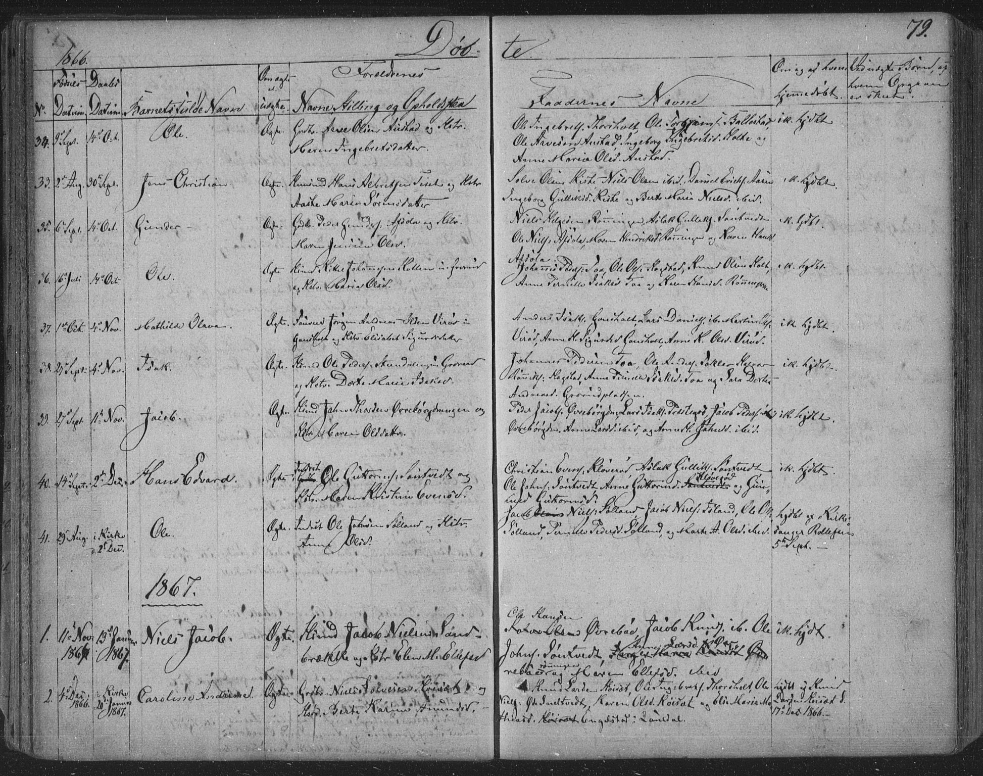 SAKO, Siljan kirkebøker, F/Fa/L0001: Parish register (official) no. 1, 1831-1870, p. 79