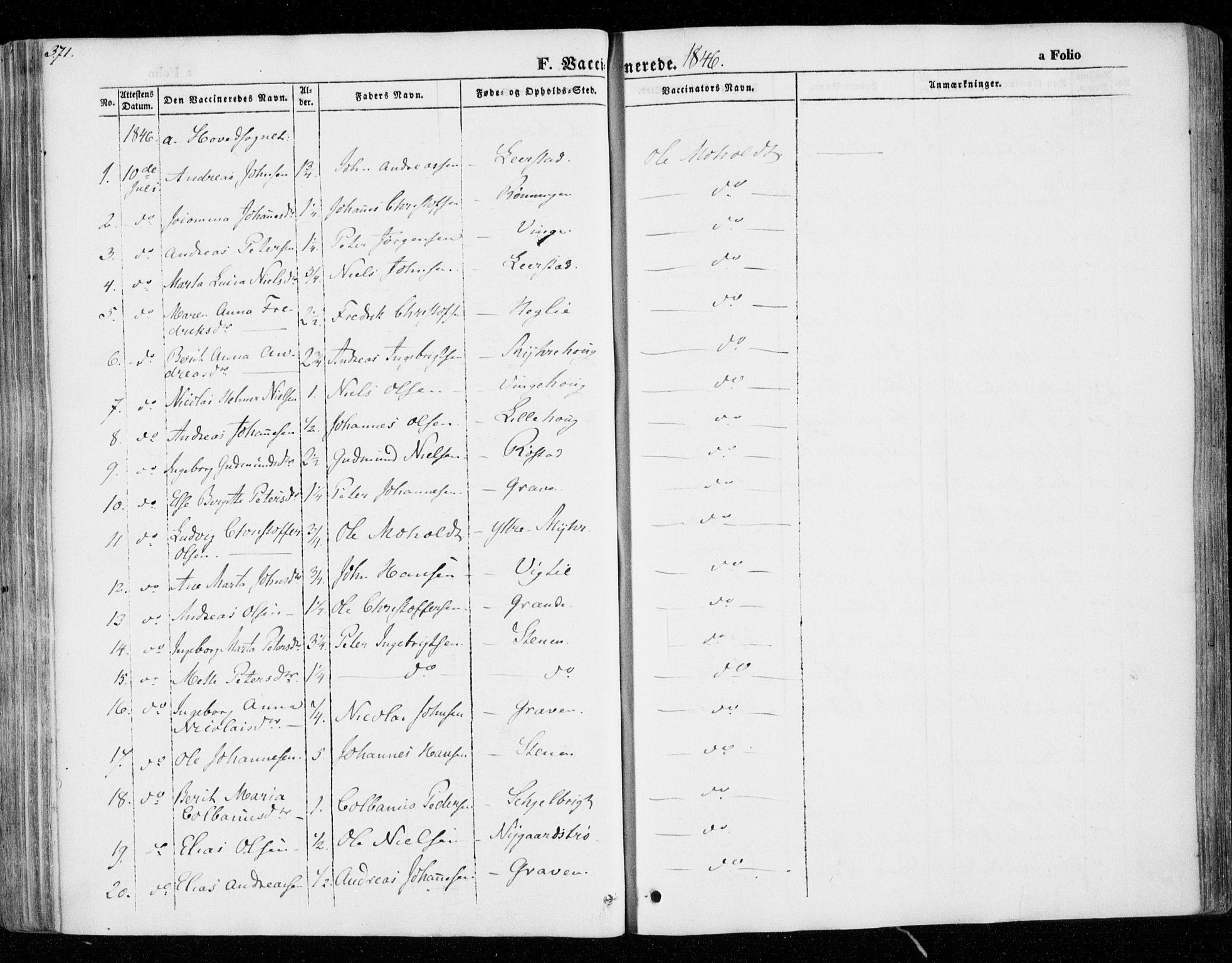 SAT, Ministerialprotokoller, klokkerbøker og fødselsregistre - Nord-Trøndelag, 701/L0007: Parish register (official) no. 701A07 /1, 1842-1854, p. 371
