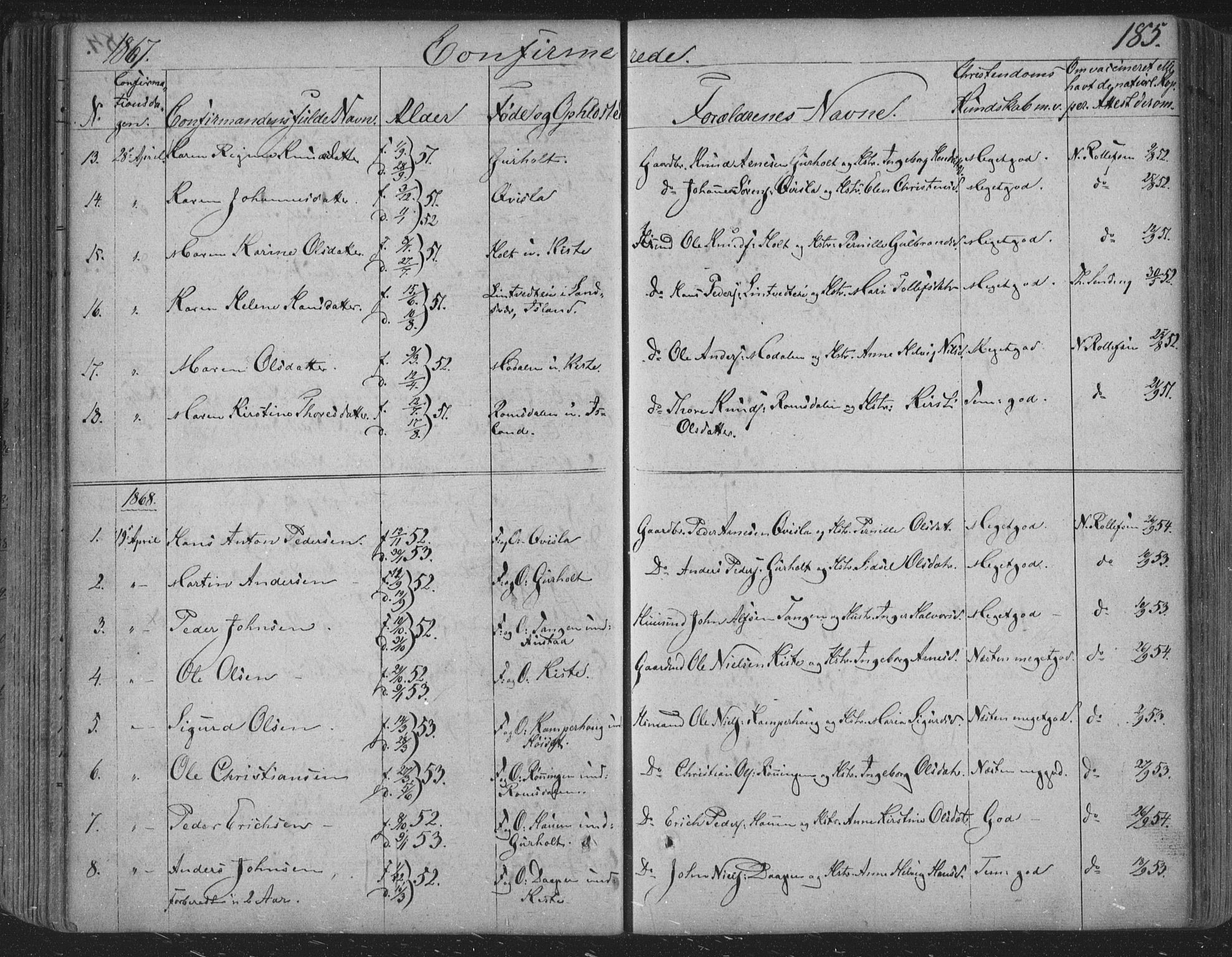SAKO, Siljan kirkebøker, F/Fa/L0001: Parish register (official) no. 1, 1831-1870, p. 185
