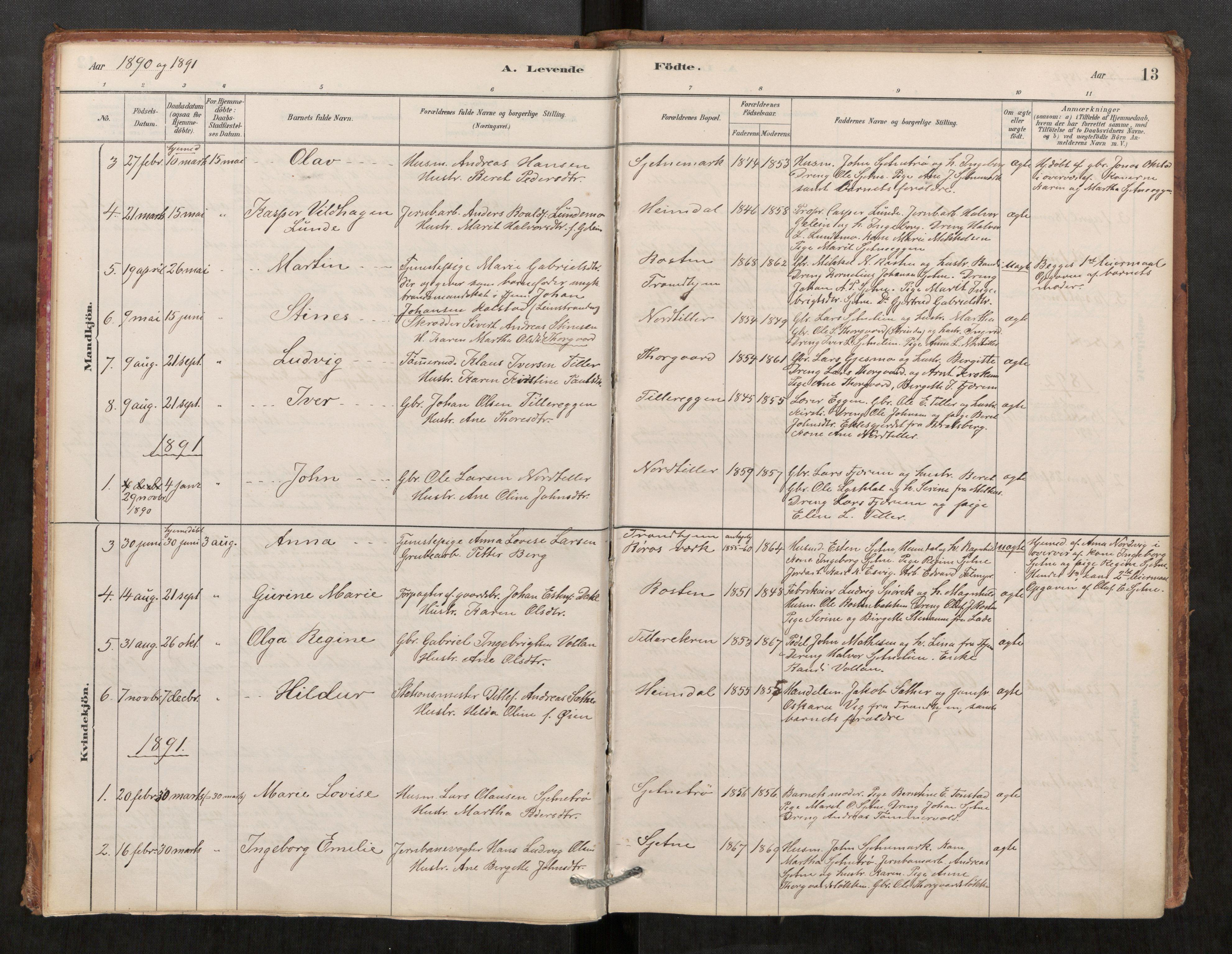 SAT, Klæbu sokneprestkontor, Parish register (official) no. 1, 1880-1900, p. 13