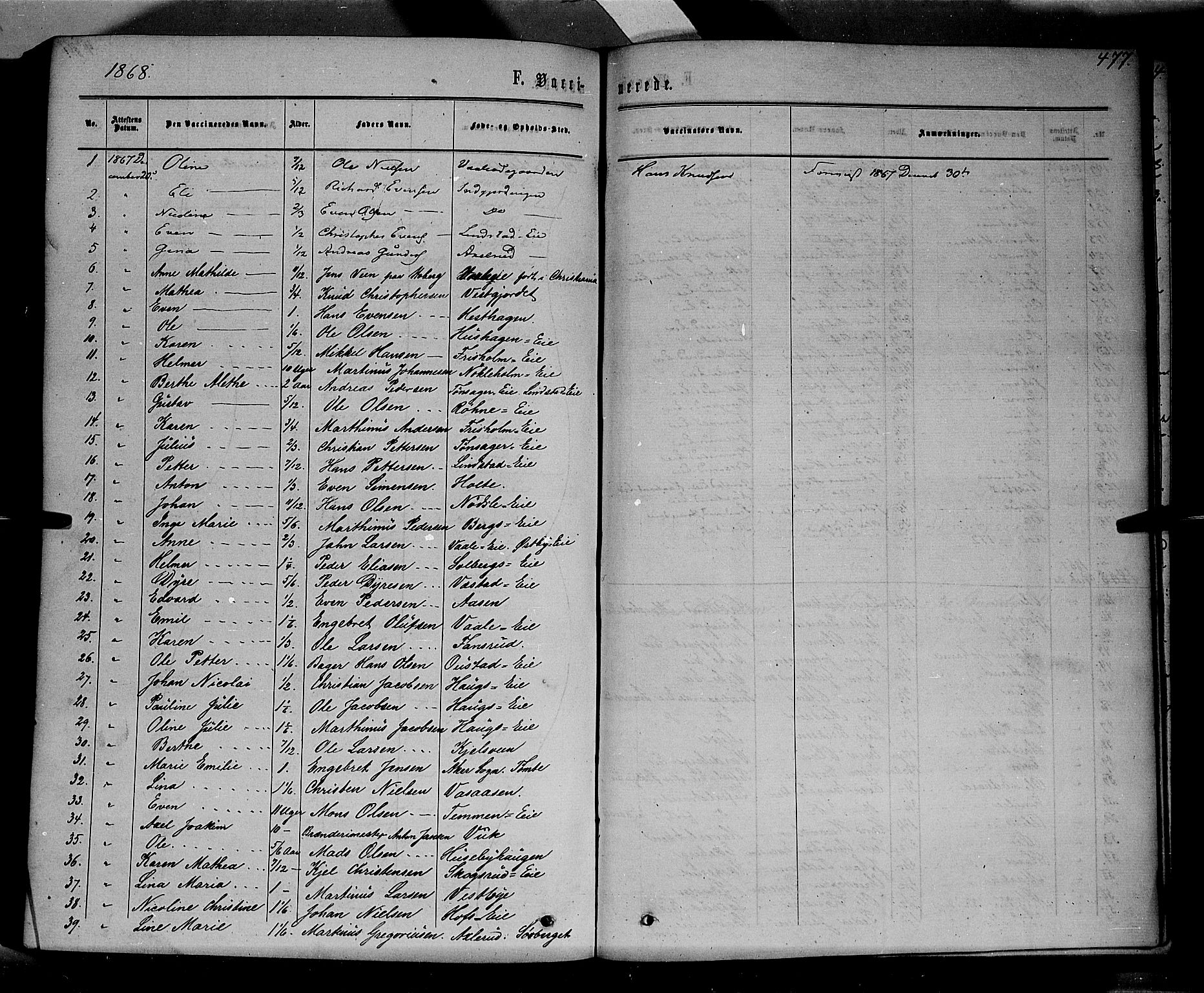 SAH, Stange prestekontor, K/L0013: Parish register (official) no. 13, 1862-1879, p. 477