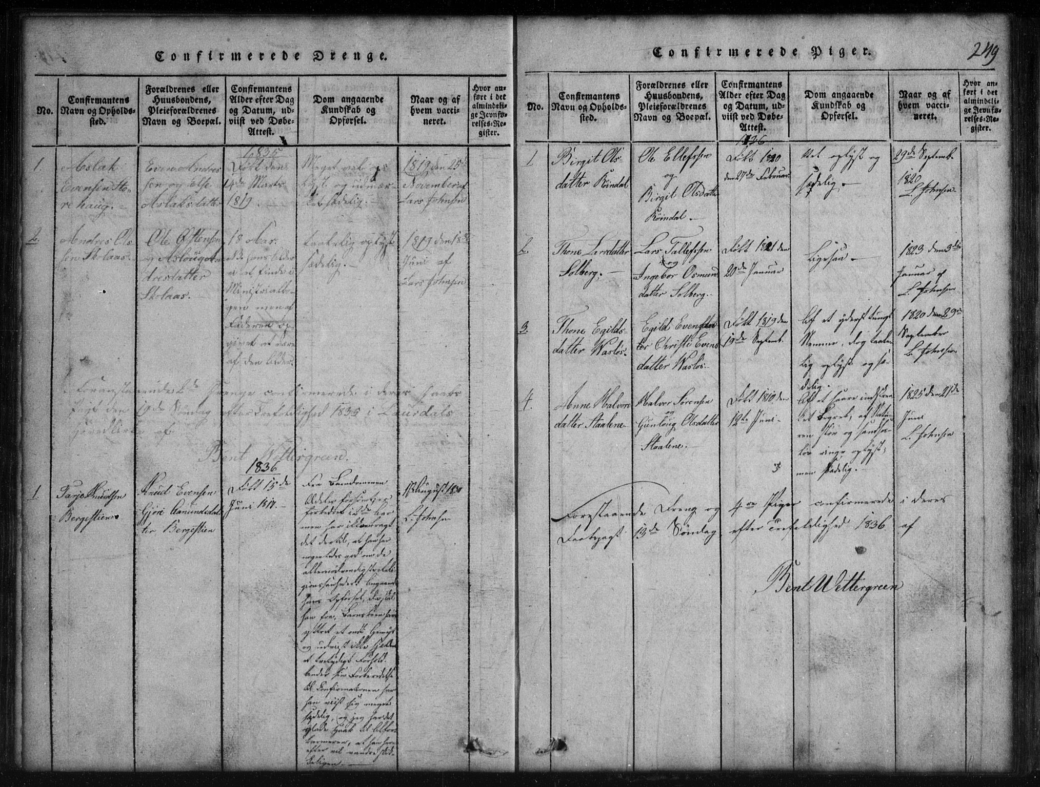 SAKO, Rauland kirkebøker, G/Gb/L0001: Parish register (copy) no. II 1, 1815-1886, p. 249