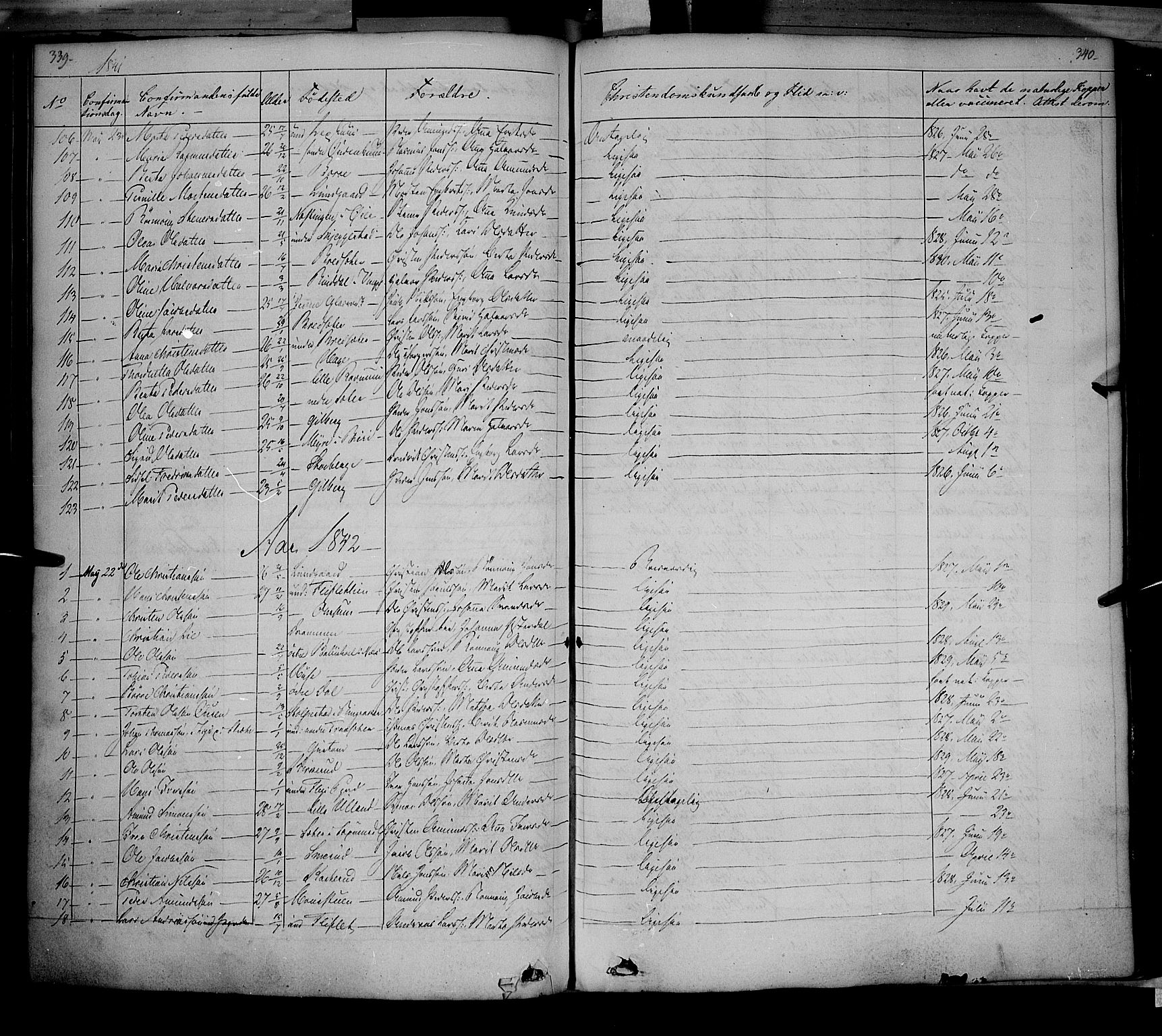 SAH, Fåberg prestekontor, Parish register (official) no. 5, 1836-1854, p. 339-340