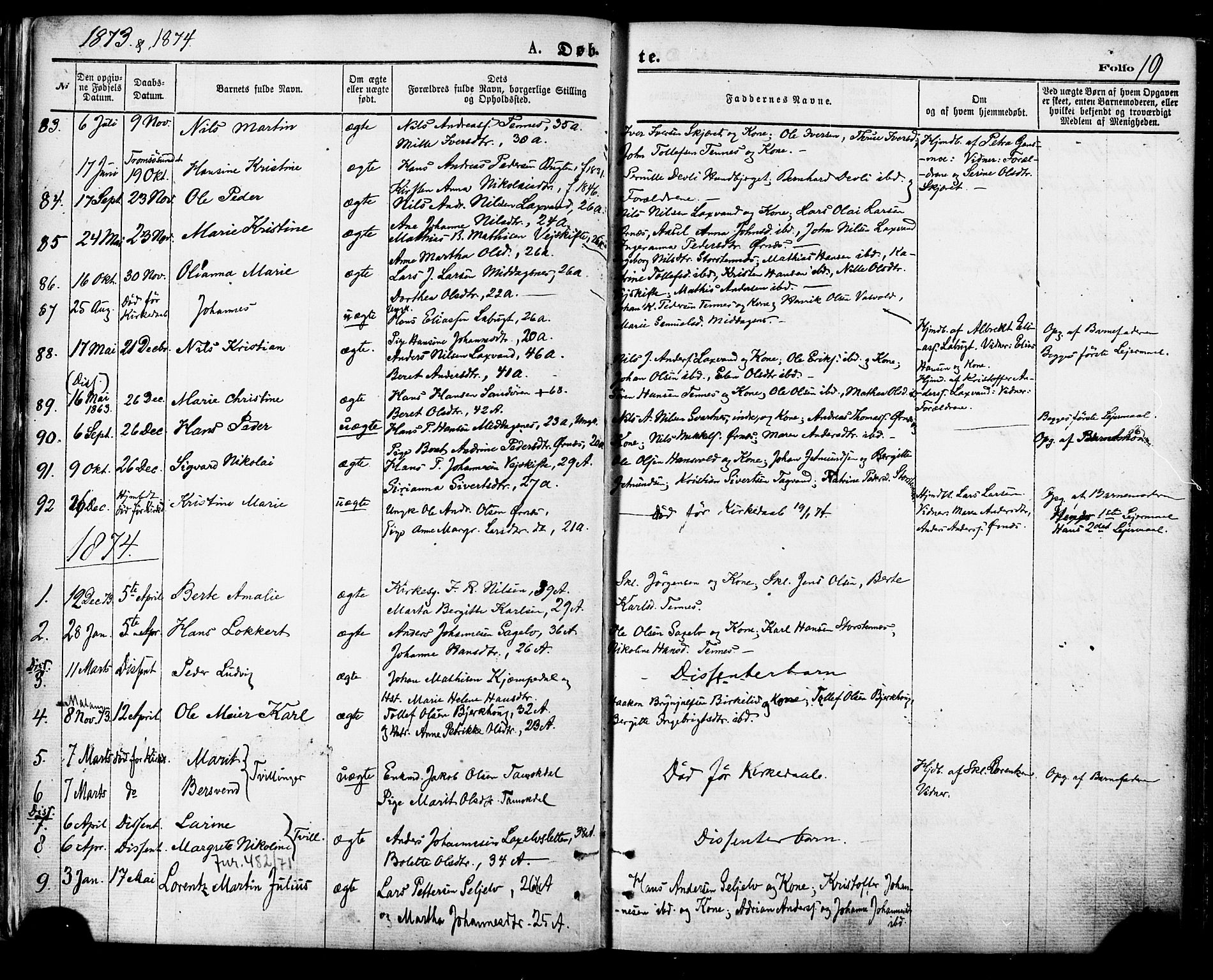 SATØ, Balsfjord sokneprestembete, Parish register (official) no. 4, 1871-1883, p. 19