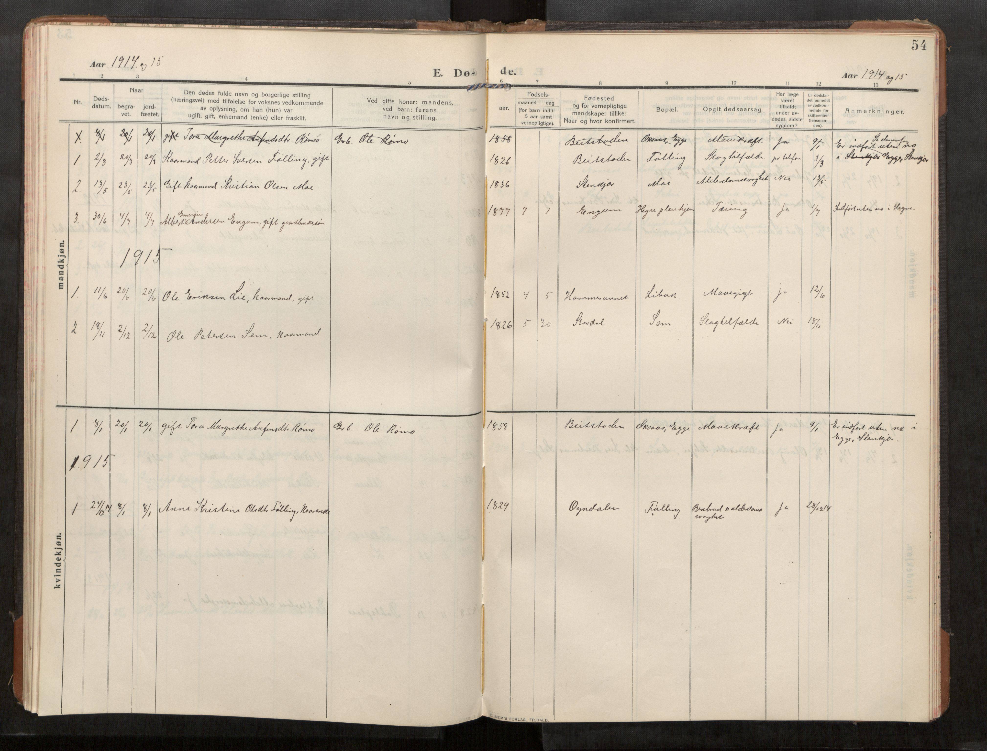 SAT, Stod sokneprestkontor, I/I1/I1a/L0003: Parish register (official) no. 3, 1909-1934, p. 54