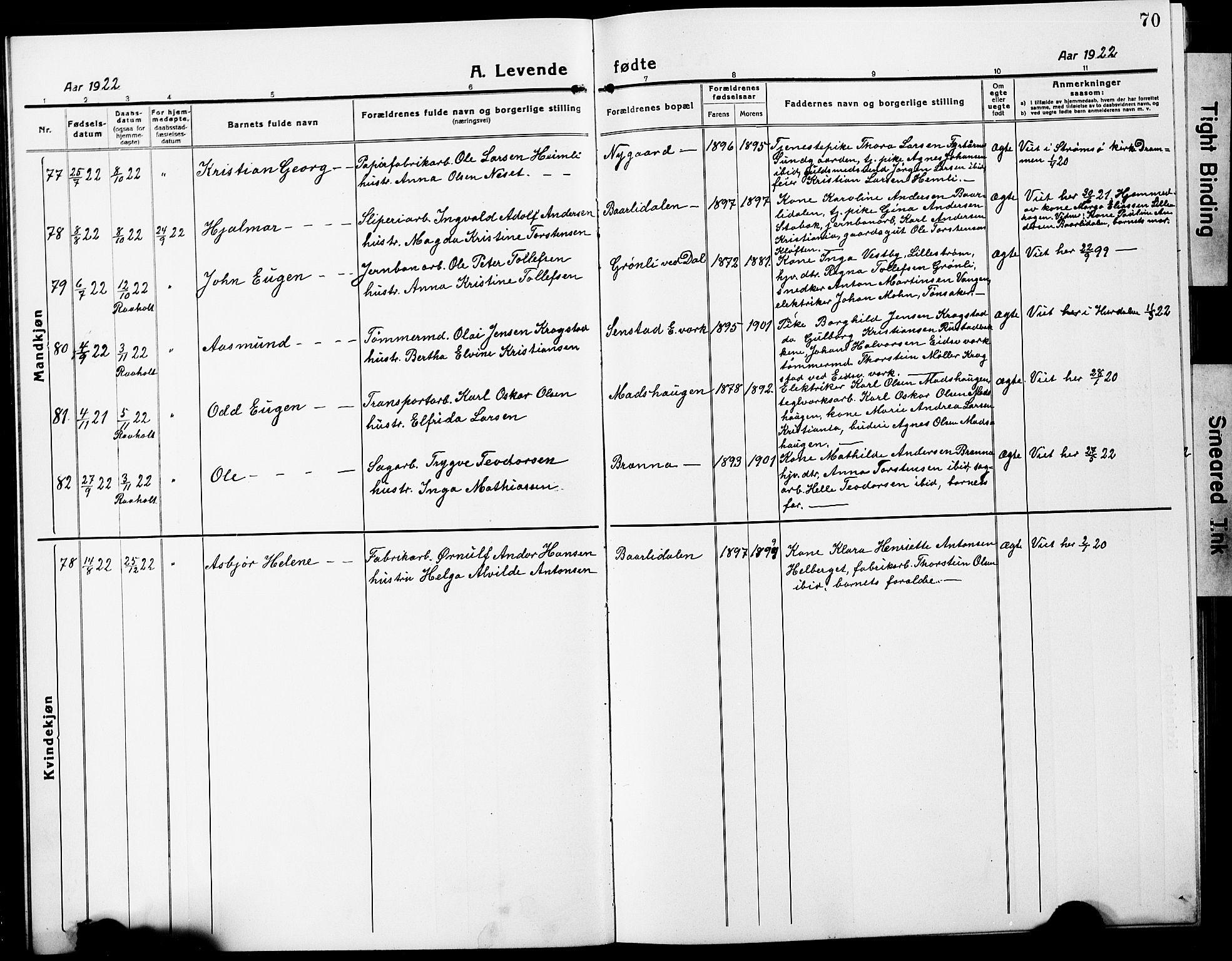 SAO, Eidsvoll prestekontor Kirkebøker, G/Ga/L0010: Parish register (copy) no. I 10, 1919-1929, p. 70