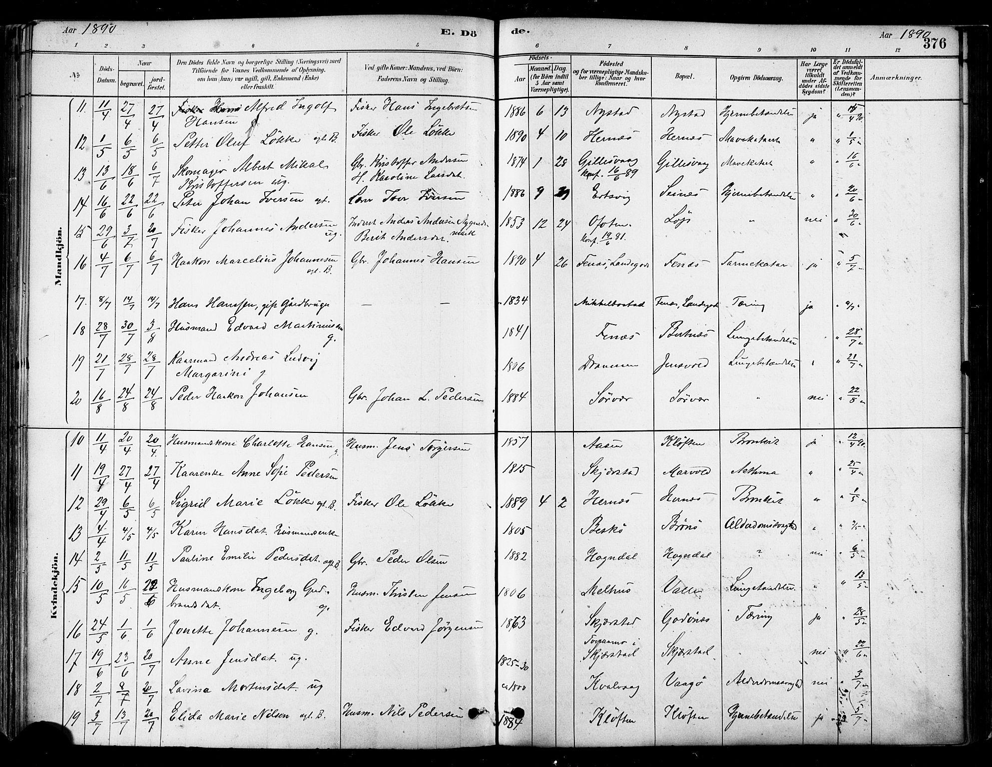 SAT, Ministerialprotokoller, klokkerbøker og fødselsregistre - Nordland, 802/L0054: Parish register (official) no. 802A01, 1879-1893, p. 376