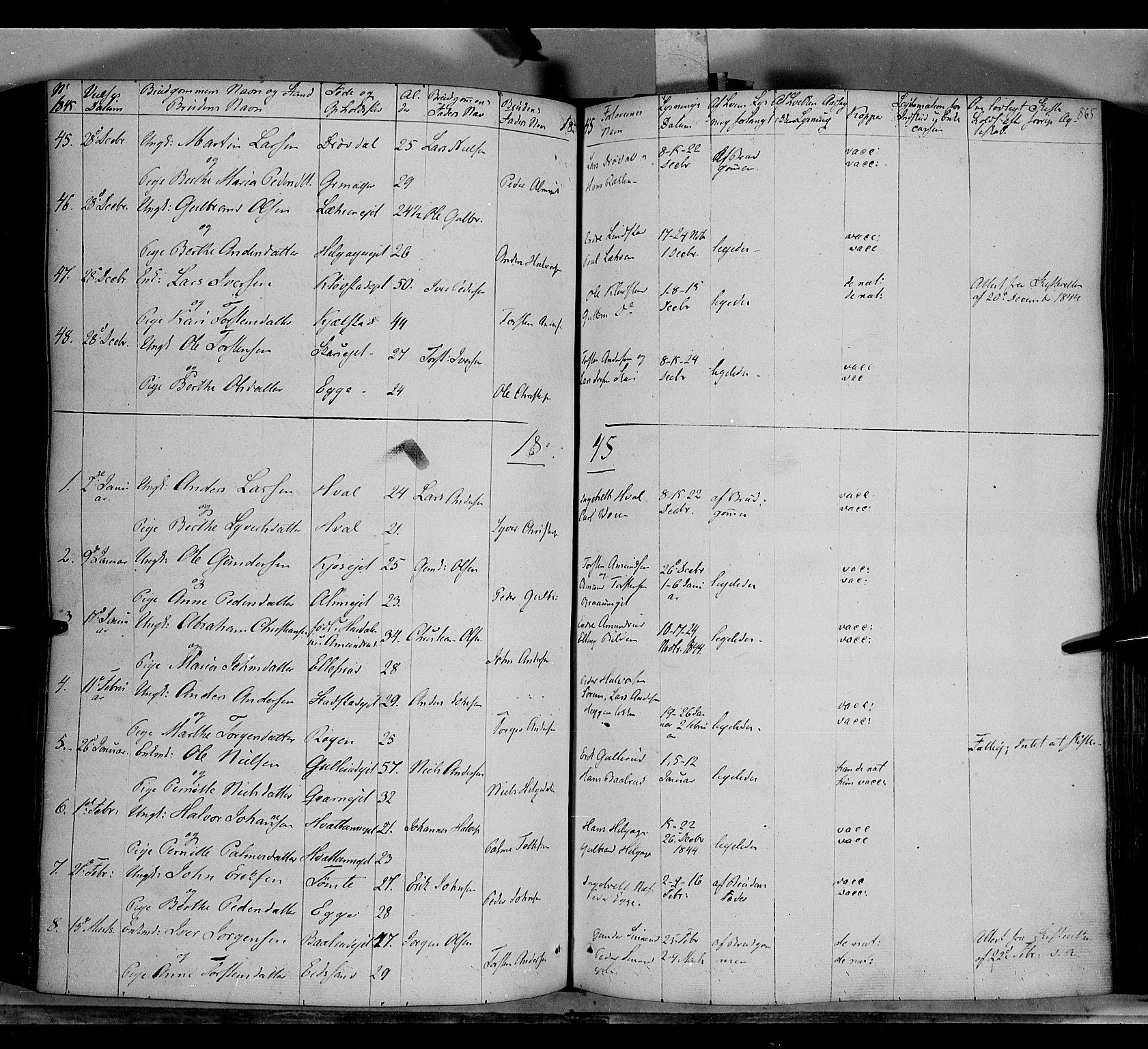 SAH, Gran prestekontor, Parish register (official) no. 11, 1842-1856, p. 864-865