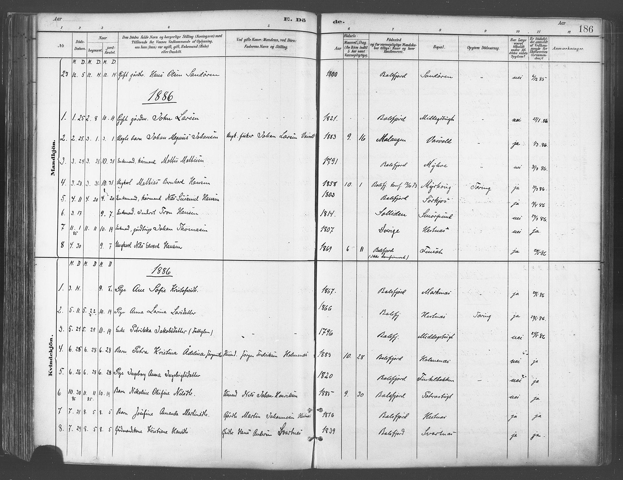 SATØ, Balsfjord sokneprestembete, Parish register (official) no. 5, 1884-1897, p. 186