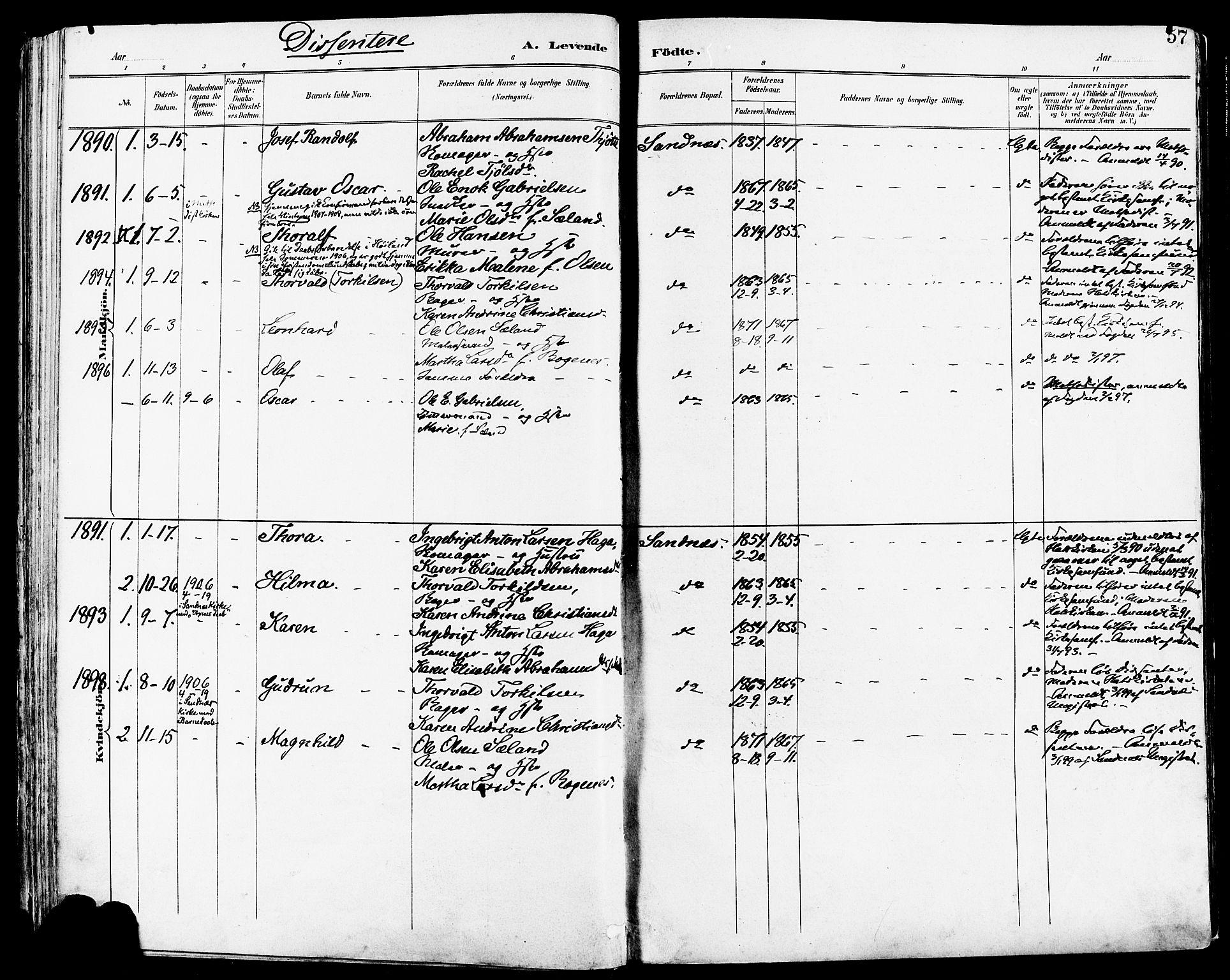 SAST, Høyland sokneprestkontor, 30BA/L0014: Parish register (official) no. A 12, 1890-1898, p. 57