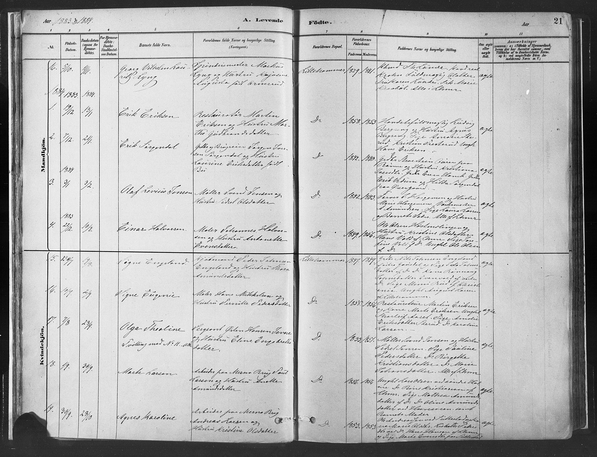 SAH, Fåberg prestekontor, H/Ha/Haa/L0010: Parish register (official) no. 10, 1879-1900, p. 21