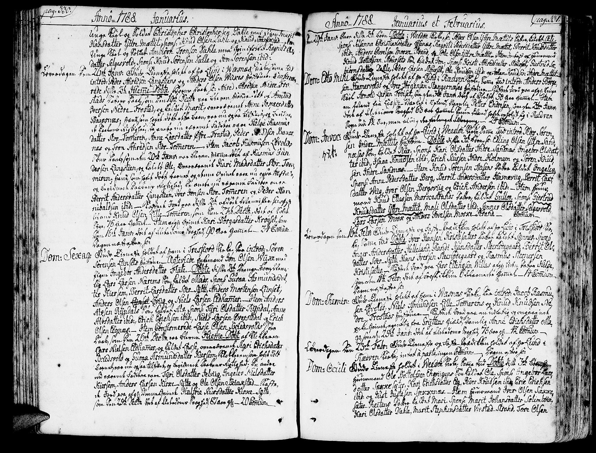 SAT, Ministerialprotokoller, klokkerbøker og fødselsregistre - Møre og Romsdal, 547/L0600: Parish register (official) no. 547A02, 1765-1799, p. 330-331