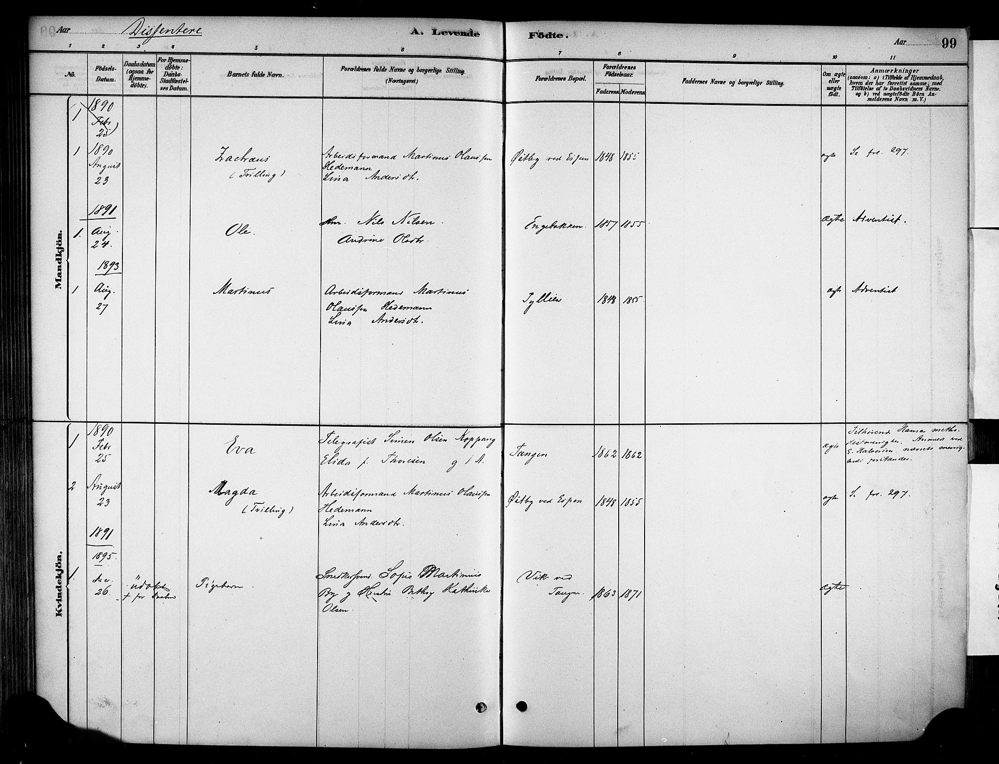 SAH, Stange prestekontor, K/L0018: Parish register (official) no. 18, 1880-1896, p. 99