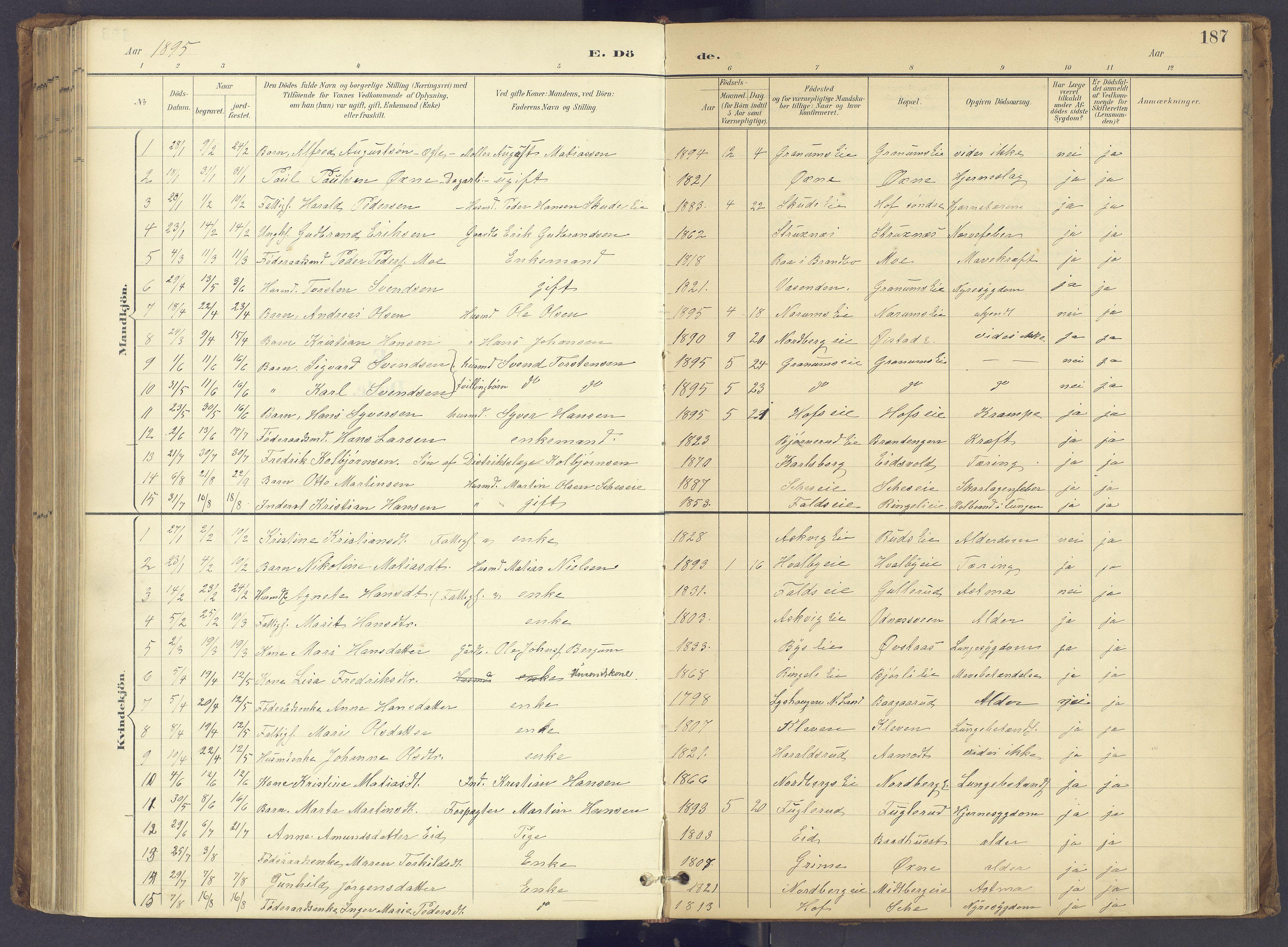 SAH, Søndre Land prestekontor, K/L0006: Parish register (official) no. 6, 1895-1904, p. 187