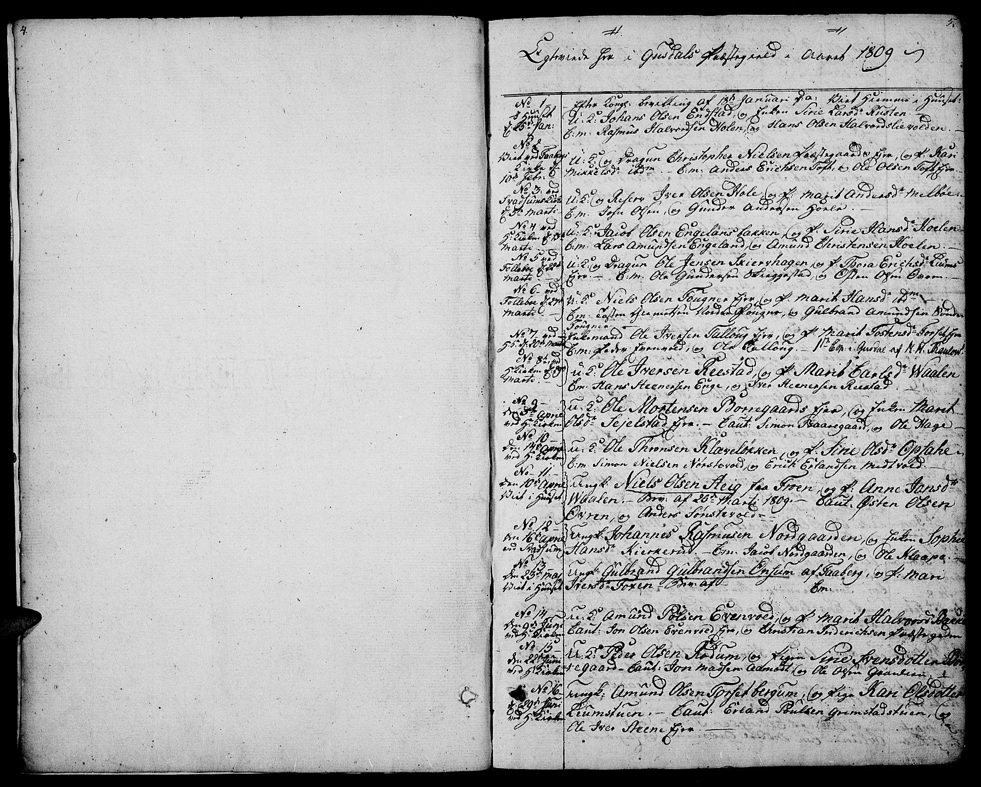 SAH, Gausdal prestekontor, Parish register (official) no. 4, 1809-1817, p. 4-5