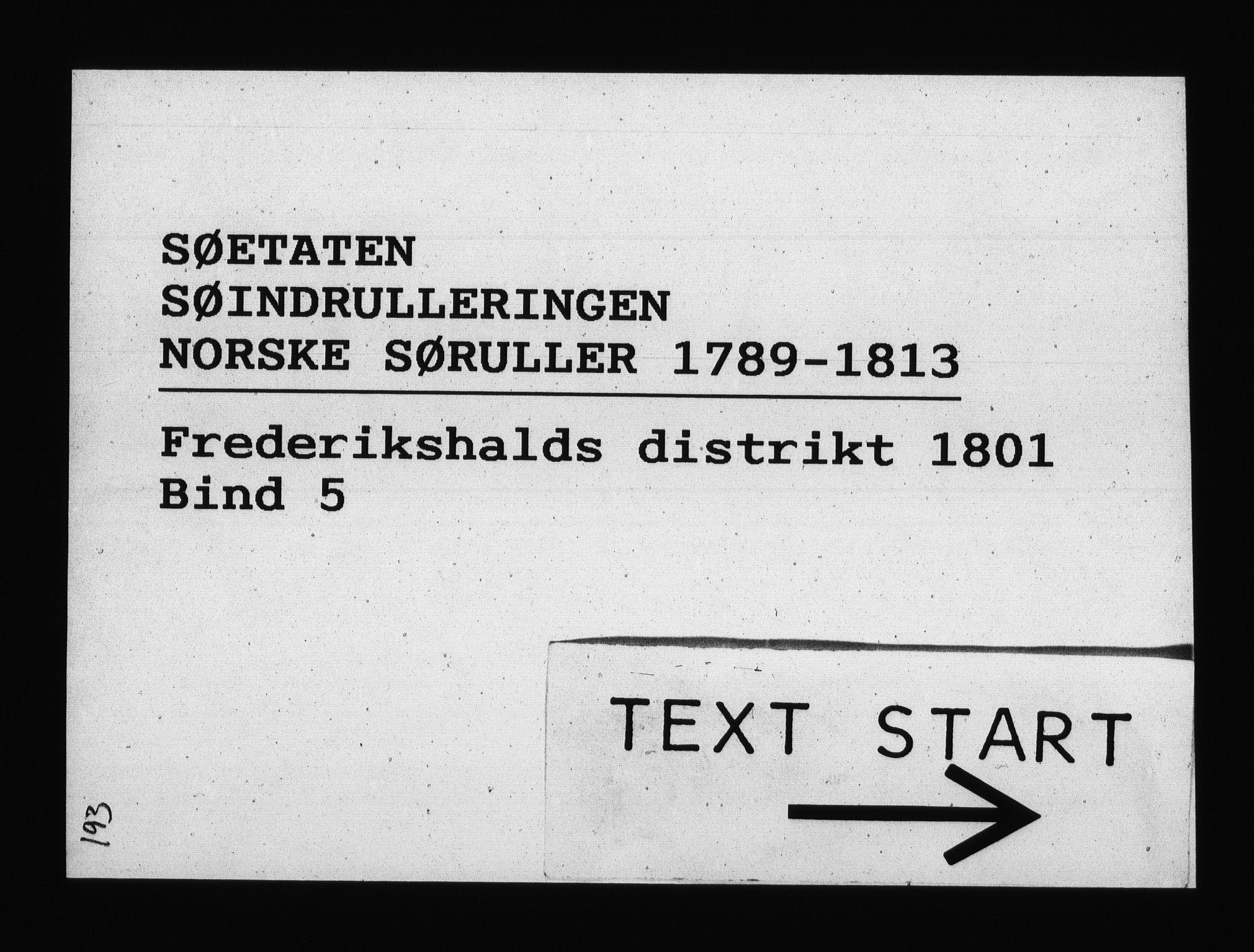 RA, Sjøetaten, F/L0194: Fredrikshalds distrikt, bind 5, 1801