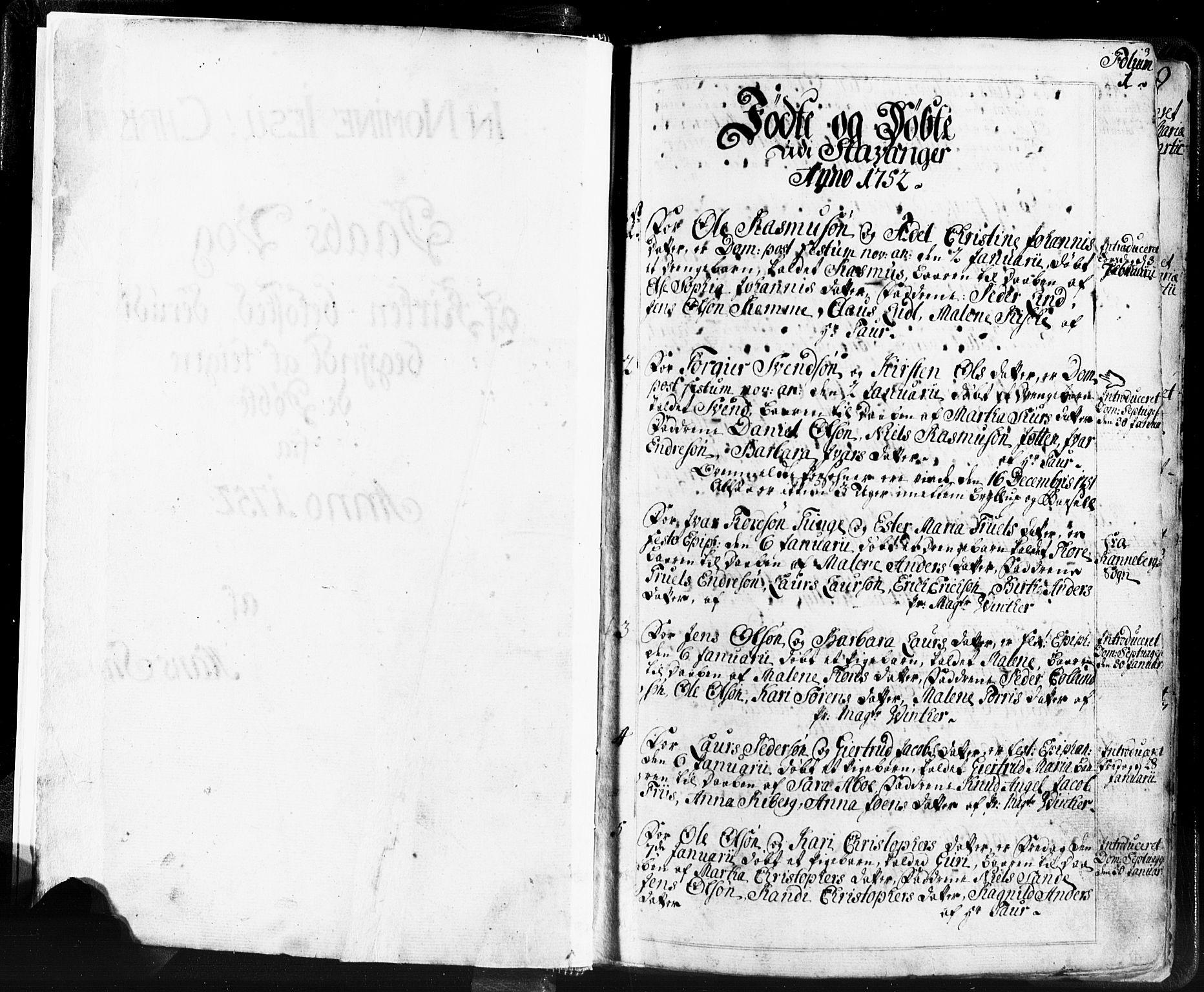 SAST, Domkirken sokneprestkontor, 30/30BB/L0004: Parish register (copy) no. B 4, 1752-1790, p. 1