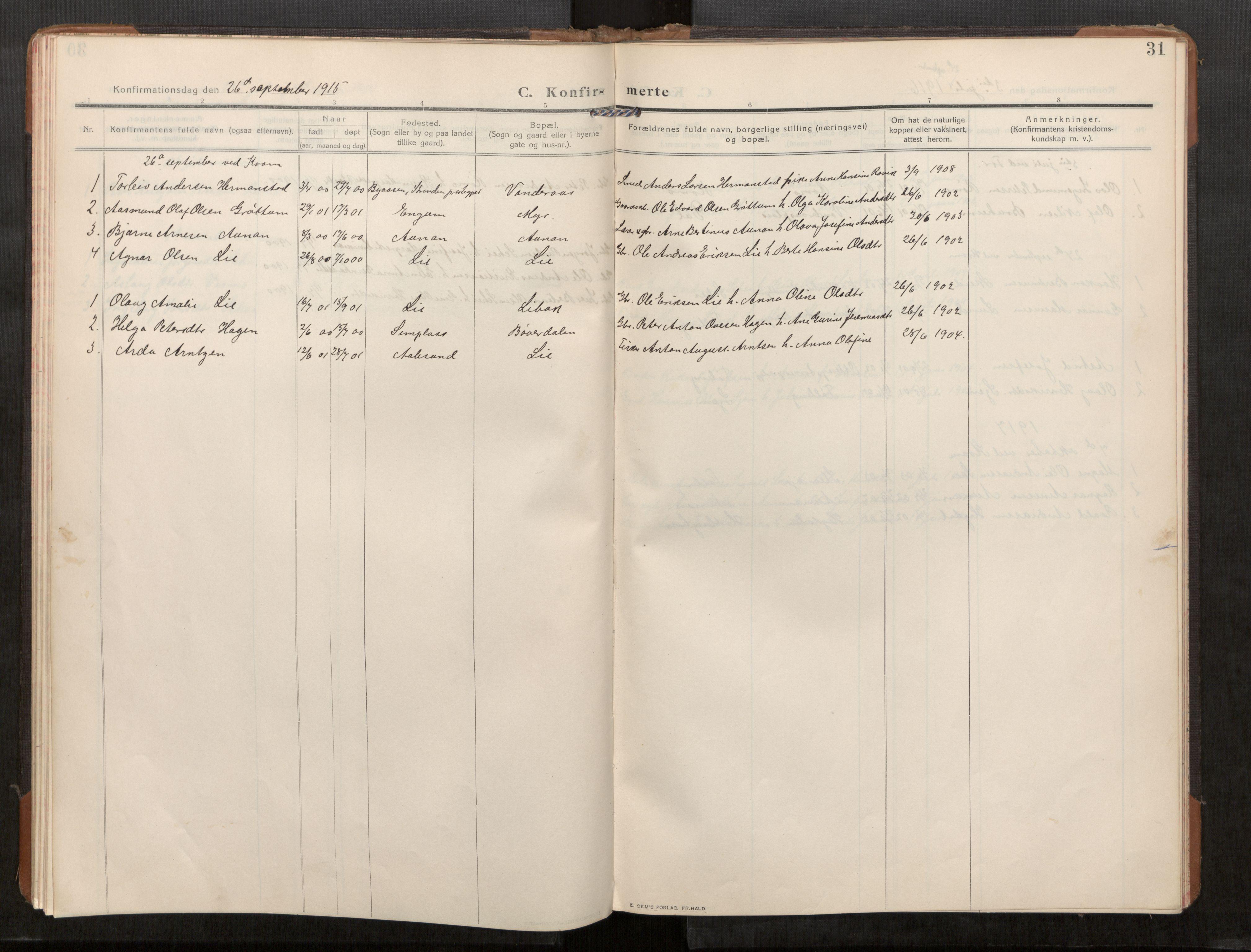 SAT, Stod sokneprestkontor, I/I1/I1a/L0003: Parish register (official) no. 3, 1909-1934, p. 31