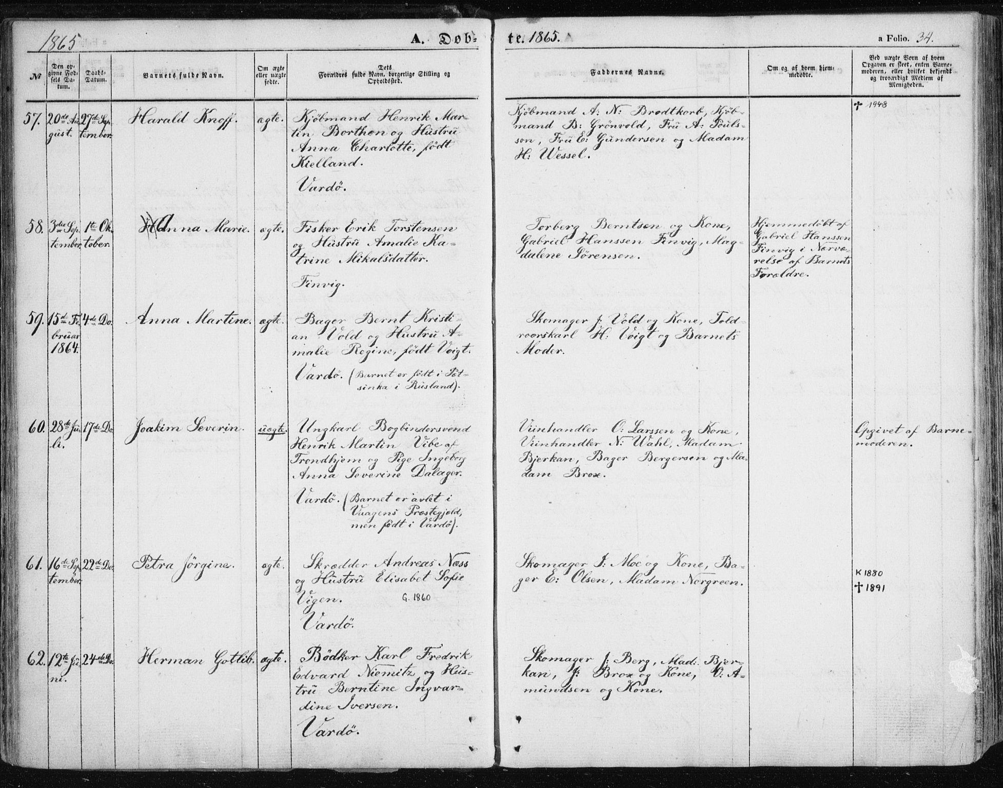 SATØ, Vardø sokneprestkontor, H/Ha/L0004kirke: Parish register (official) no. 4, 1862-1871, p. 34