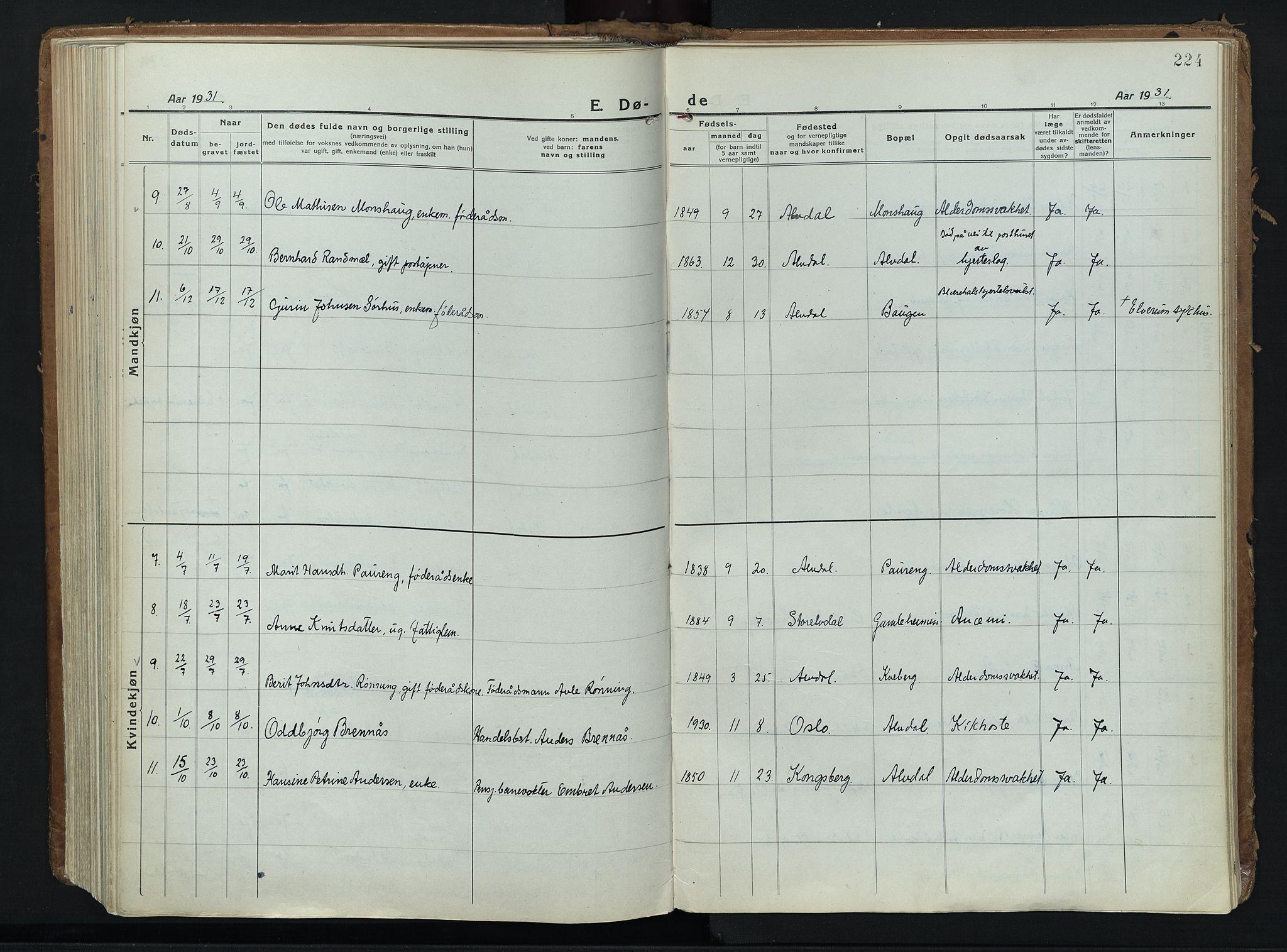 SAH, Alvdal prestekontor, Parish register (official) no. 6, 1920-1937, p. 224