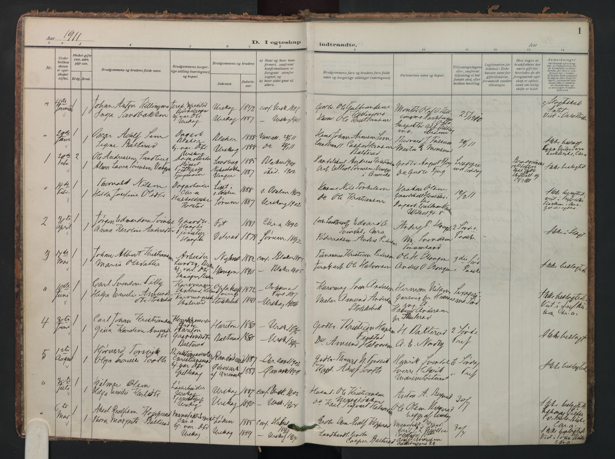 SAO, Aurskog prestekontor Kirkebøker, F/Fa/L0016: Parish register (official) no. I 16, 1910-1934, p. 1