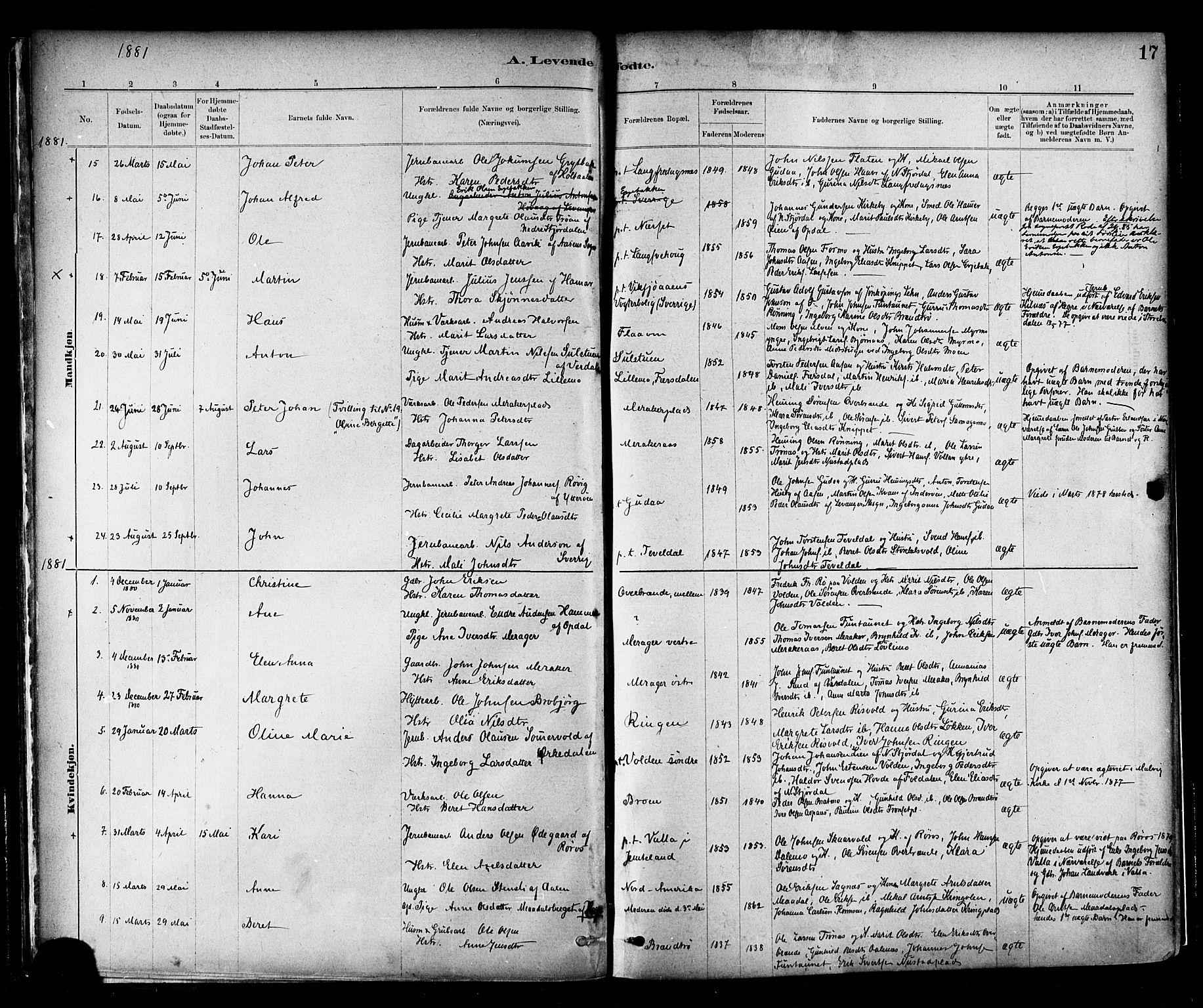 SAT, Ministerialprotokoller, klokkerbøker og fødselsregistre - Nord-Trøndelag, 706/L0047: Parish register (official) no. 706A03, 1878-1892, p. 17