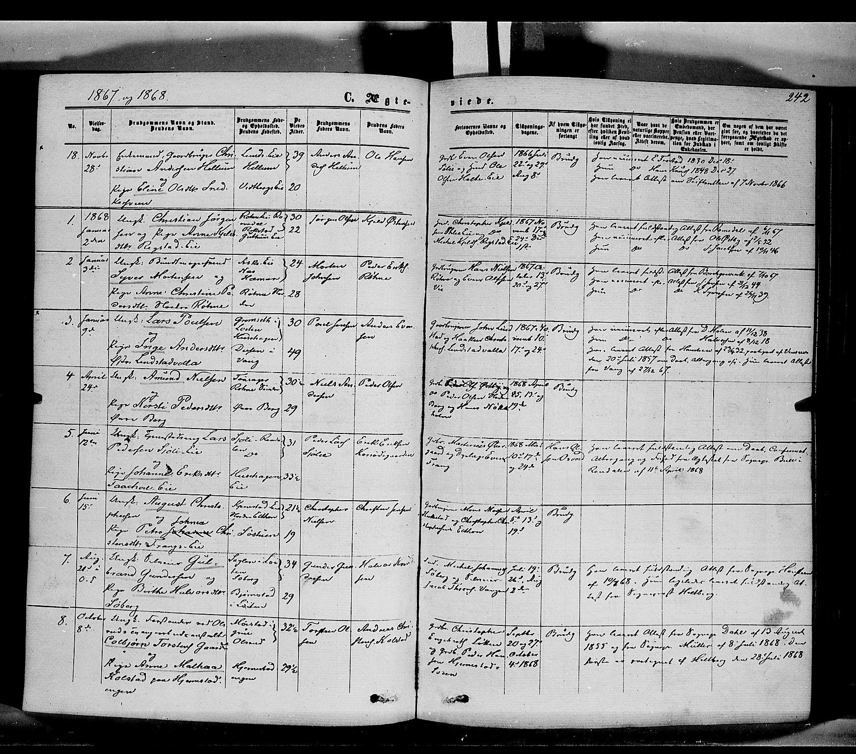 SAH, Stange prestekontor, K/L0013: Parish register (official) no. 13, 1862-1879, p. 242