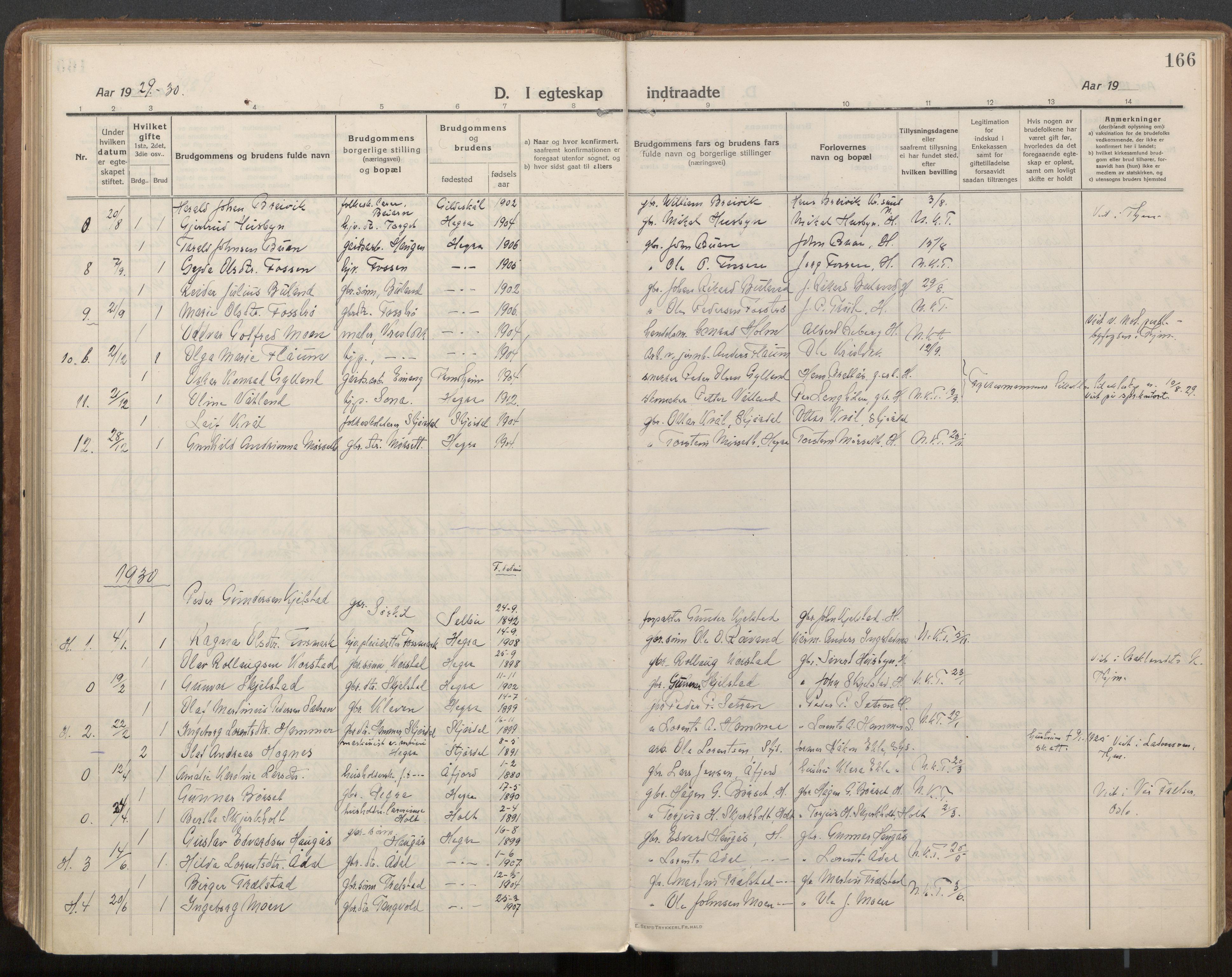 SAT, Ministerialprotokoller, klokkerbøker og fødselsregistre - Nord-Trøndelag, 703/L0037: Parish register (official) no. 703A10, 1915-1932, p. 166
