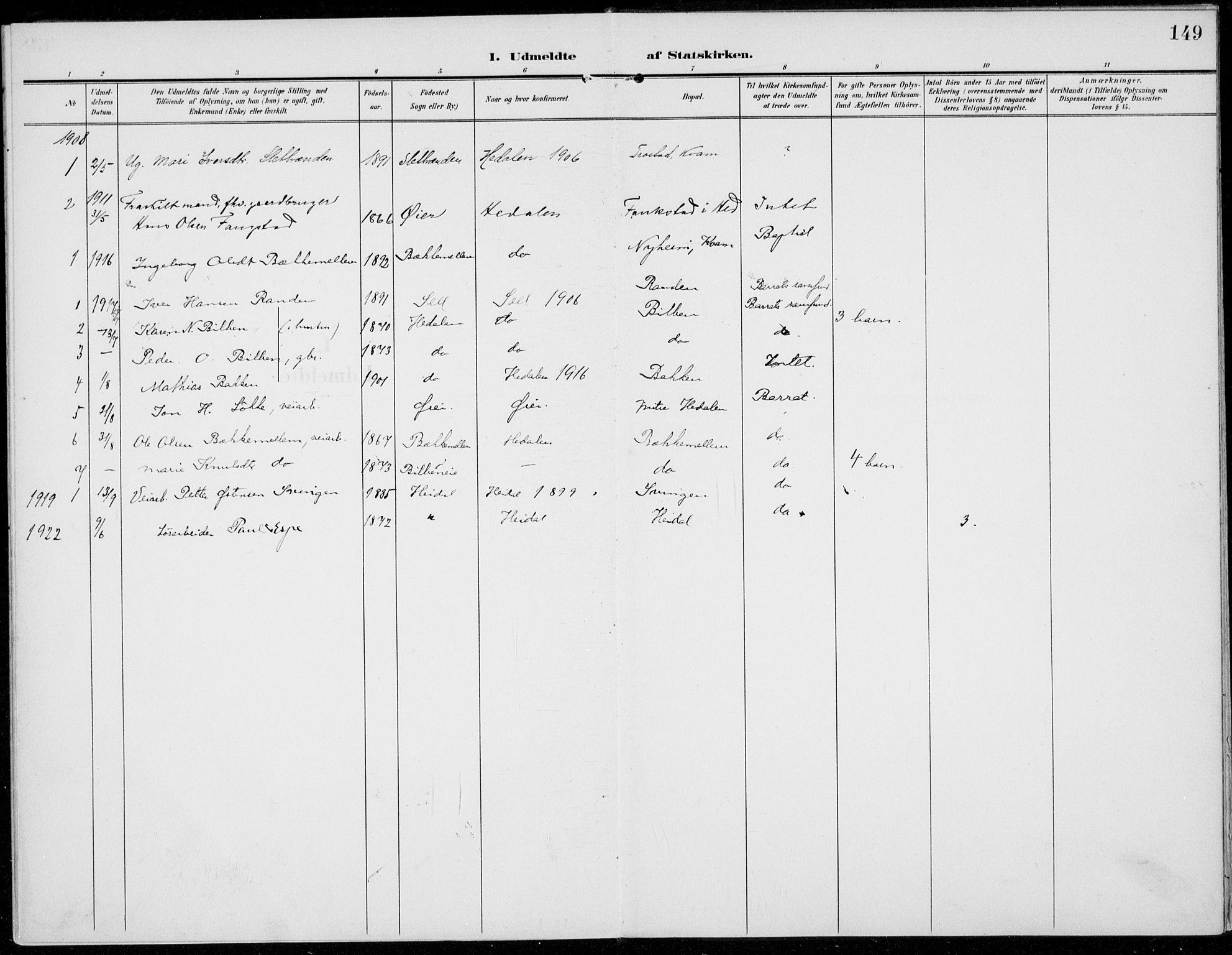 SAH, Sel prestekontor, Parish register (official) no. 1, 1905-1922, p. 149
