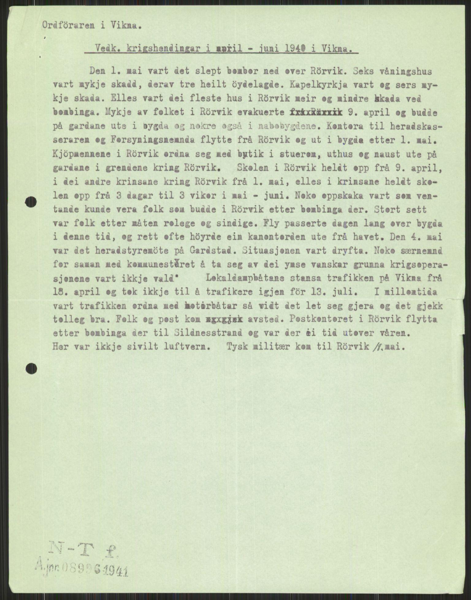 RA, Forsvaret, Forsvarets krigshistoriske avdeling, Y/Ya/L0016: II-C-11-31 - Fylkesmenn.  Rapporter om krigsbegivenhetene 1940., 1940, p. 605