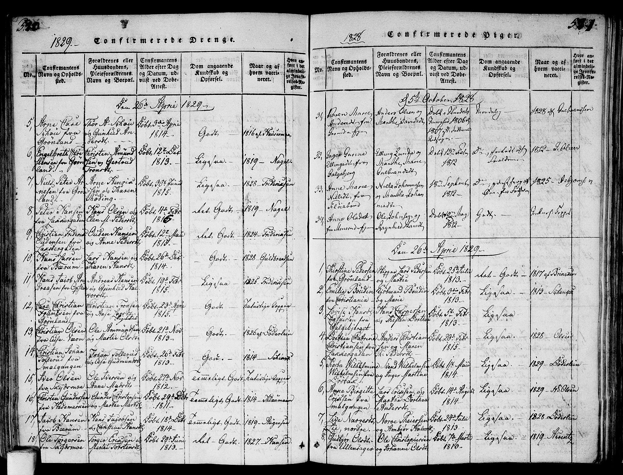 SAO, Gamlebyen prestekontor Kirkebøker, F/Fa/L0002: Parish register (official) no. 2, 1817-1829, p. 520-521