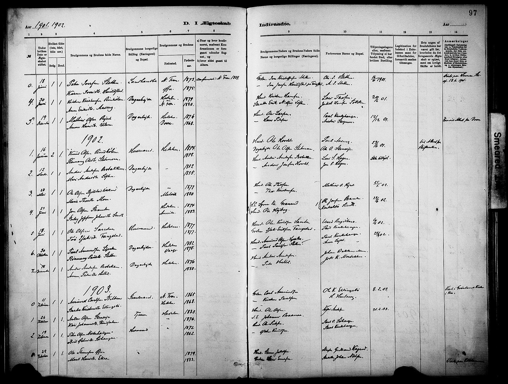 SAH, Vågå prestekontor, Parish register (official) no. 10, 1887-1904, p. 97