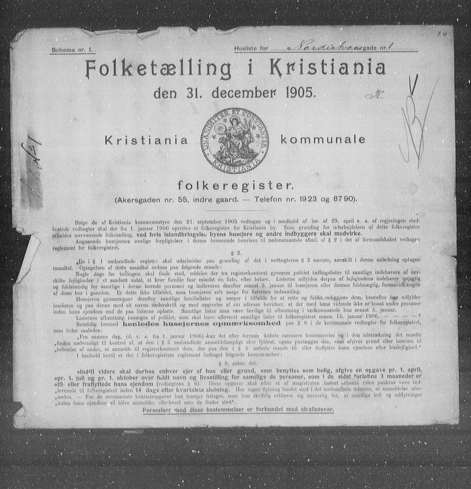 OBA, Municipal Census 1905 for Kristiania, 1905, p. 38133