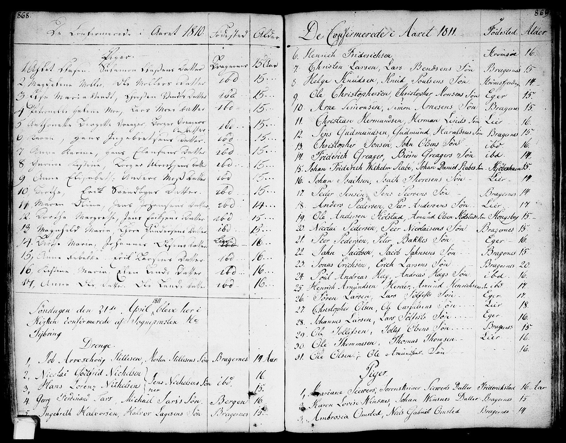 SAKO, Bragernes kirkebøker, F/Fa/L0006a: Parish register (official) no. I 6, 1782-1814, p. 868-869