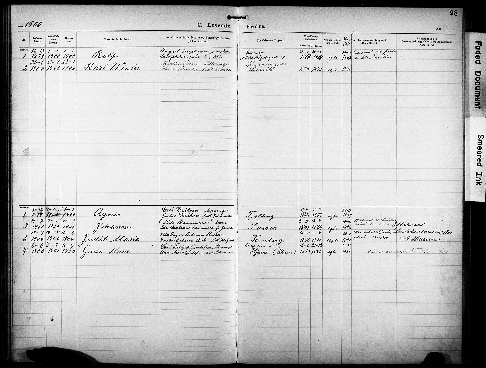 SAKO, Den katolsk-apostoliske menighet i Larvik, F/Fa/L0001: Dissenter register no. 1, 1892-1933, p. 98
