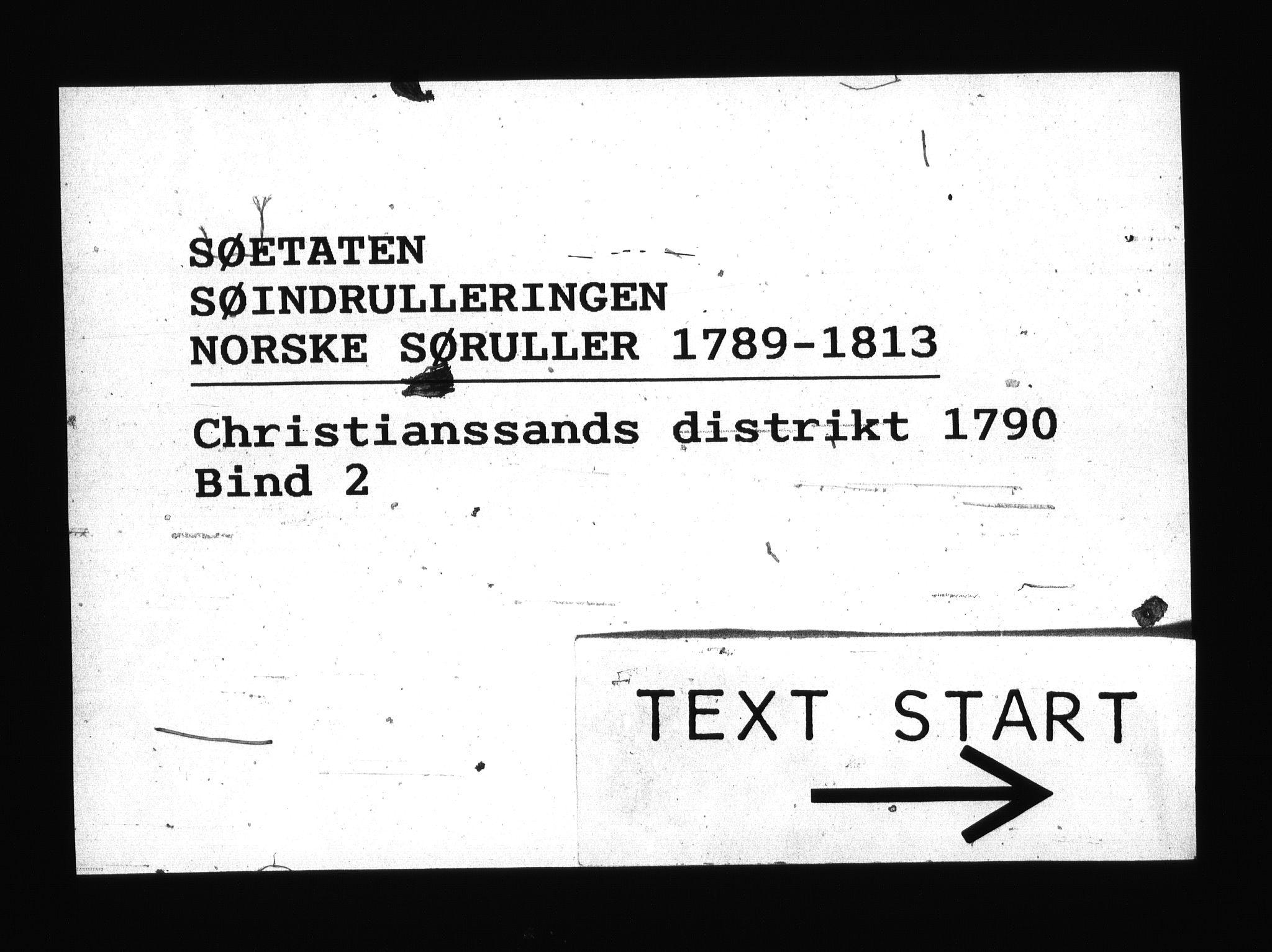 RA, Sjøetaten, F/L0015: Kristiansand distrikt, bind 2, 1790