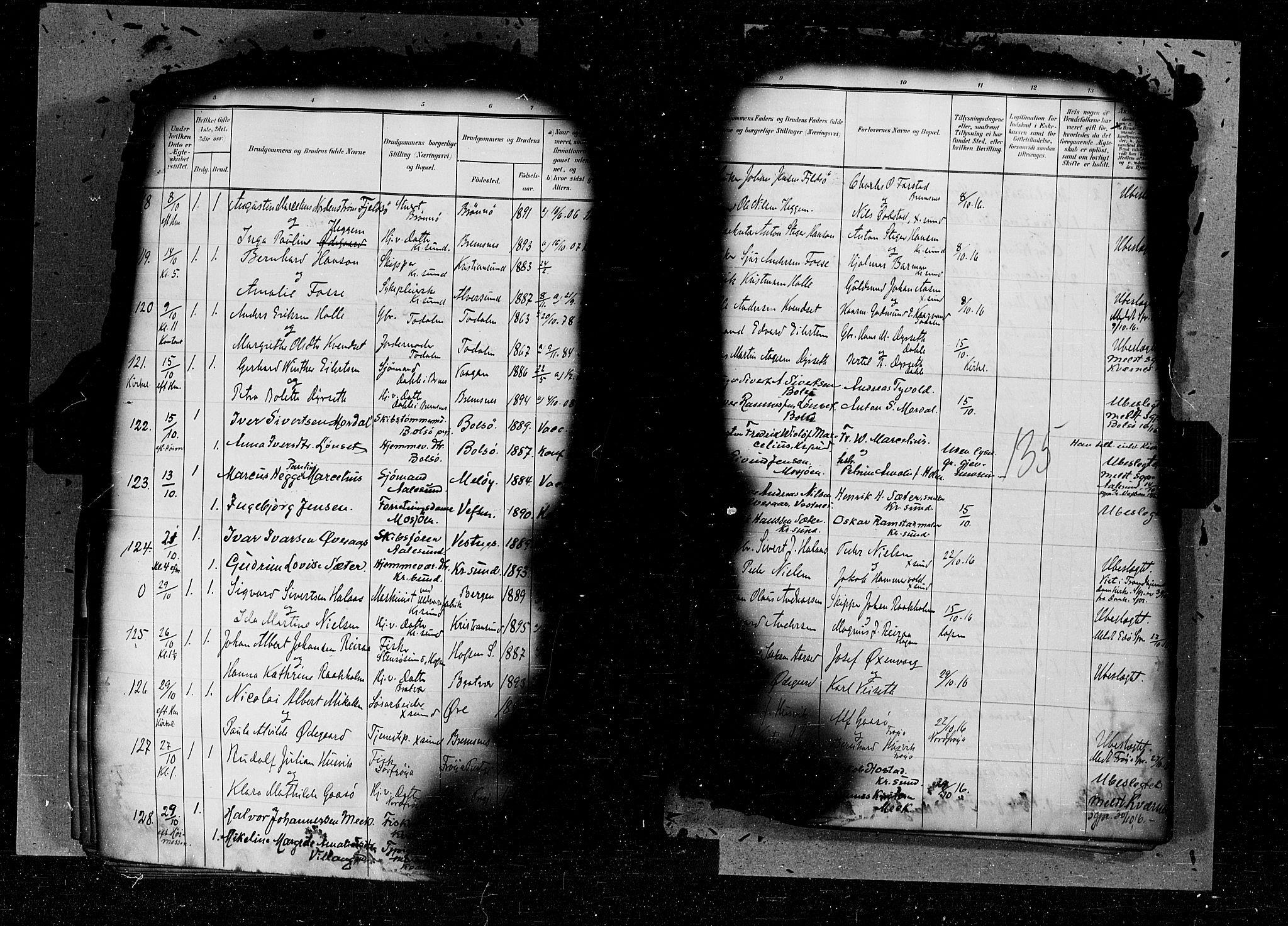 SAT, Arkivreferanse ukjent*, Parish register (official) no. 6d, 1905-1917, p. 135