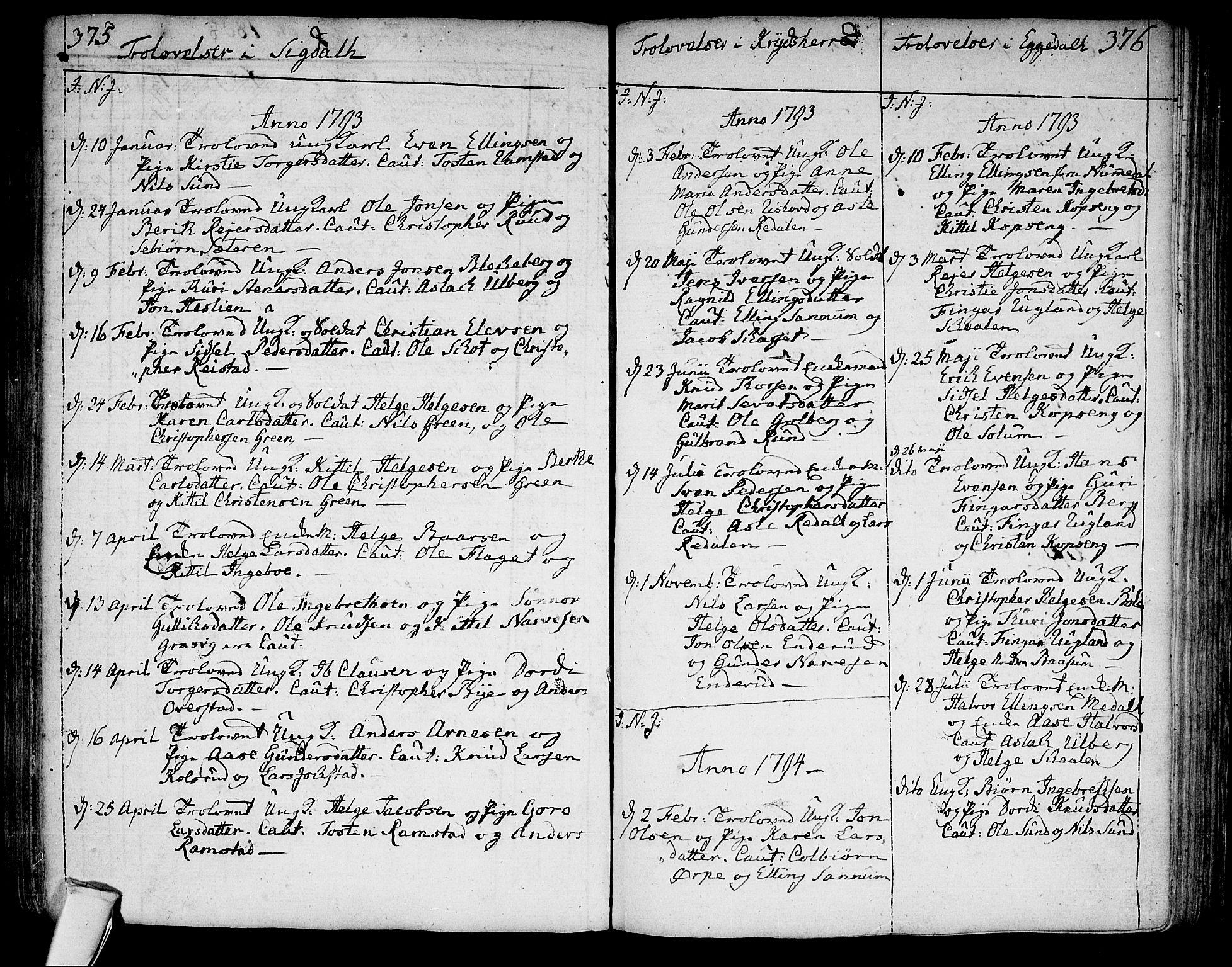 SAKO, Sigdal kirkebøker, F/Fa/L0003: Parish register (official) no. I 3, 1793-1811, p. 375-376