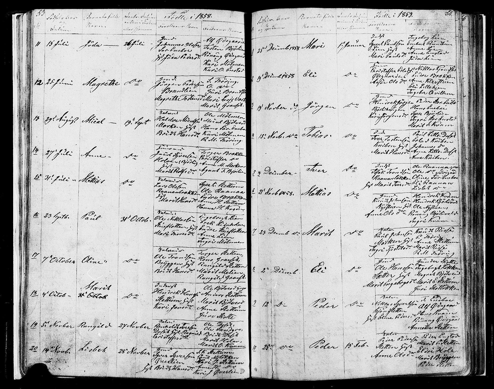 SAH, Lesja prestekontor, Parish register (copy) no. 4, 1842-1871, p. 53-54