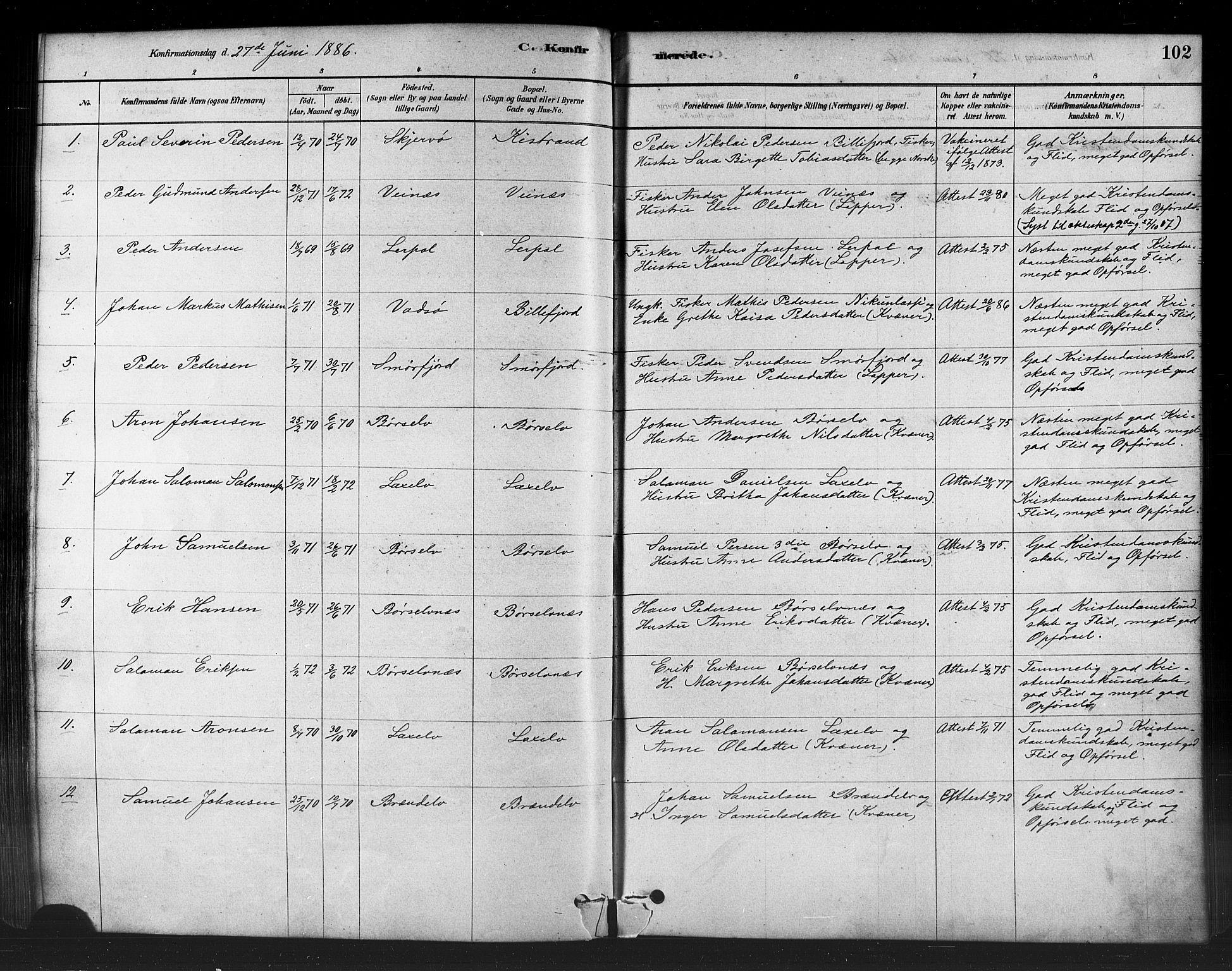 SATØ, Kistrand/Porsanger sokneprestembete, H/Ha/L0007.kirke: Parish register (official) no. 7, 1881-1889, p. 102