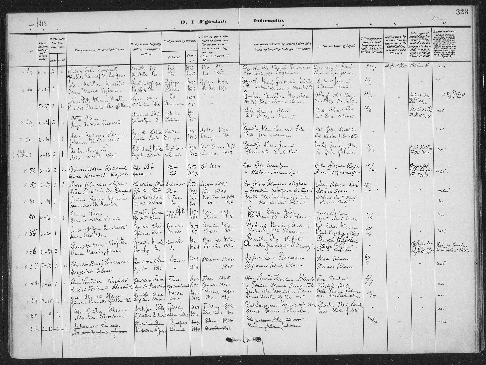 SAKO, Skien kirkebøker, F/Fa/L0012: Parish register (official) no. 12, 1908-1914, p. 323
