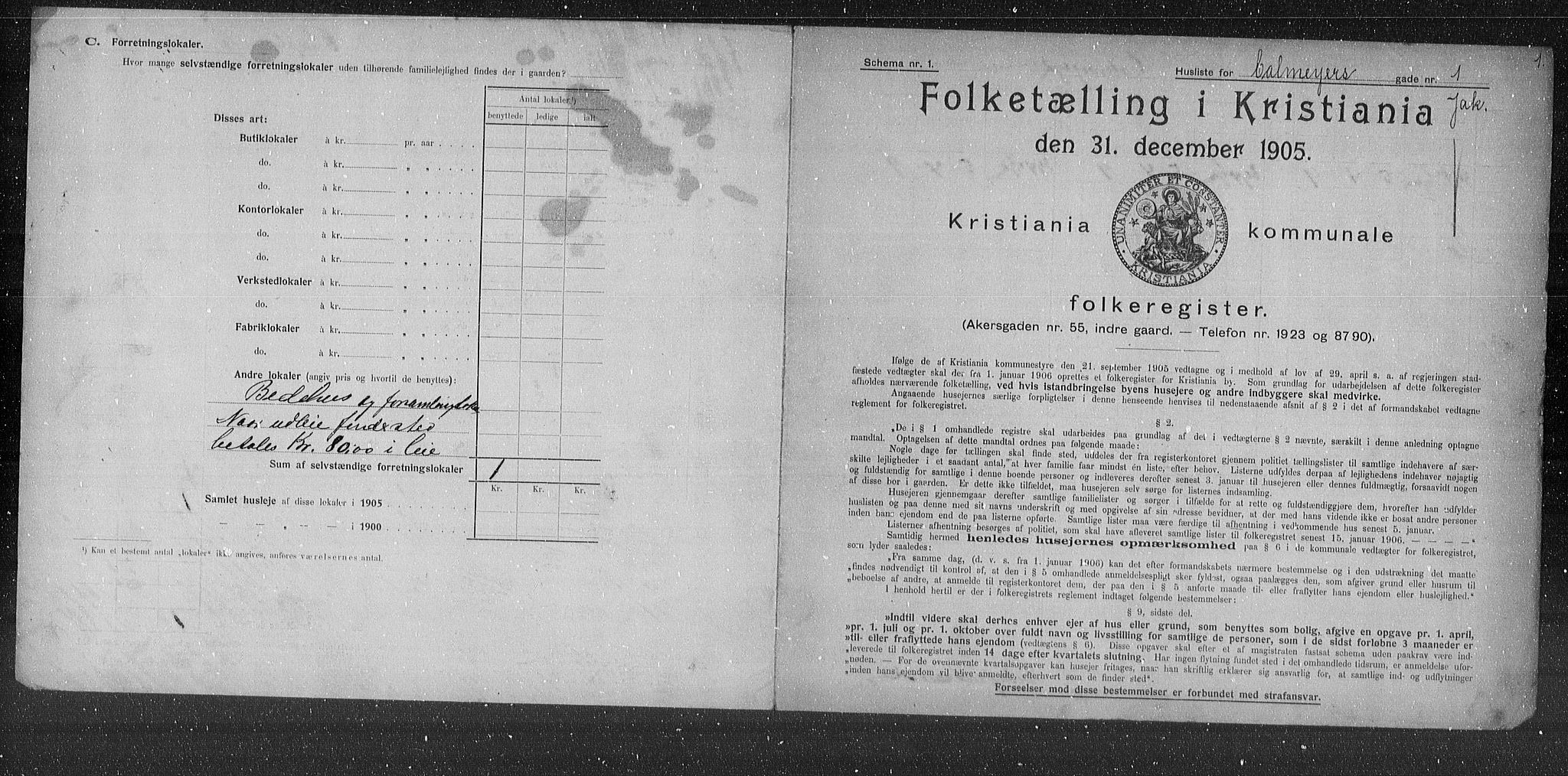 OBA, Municipal Census 1905 for Kristiania, 1905, p. 5935