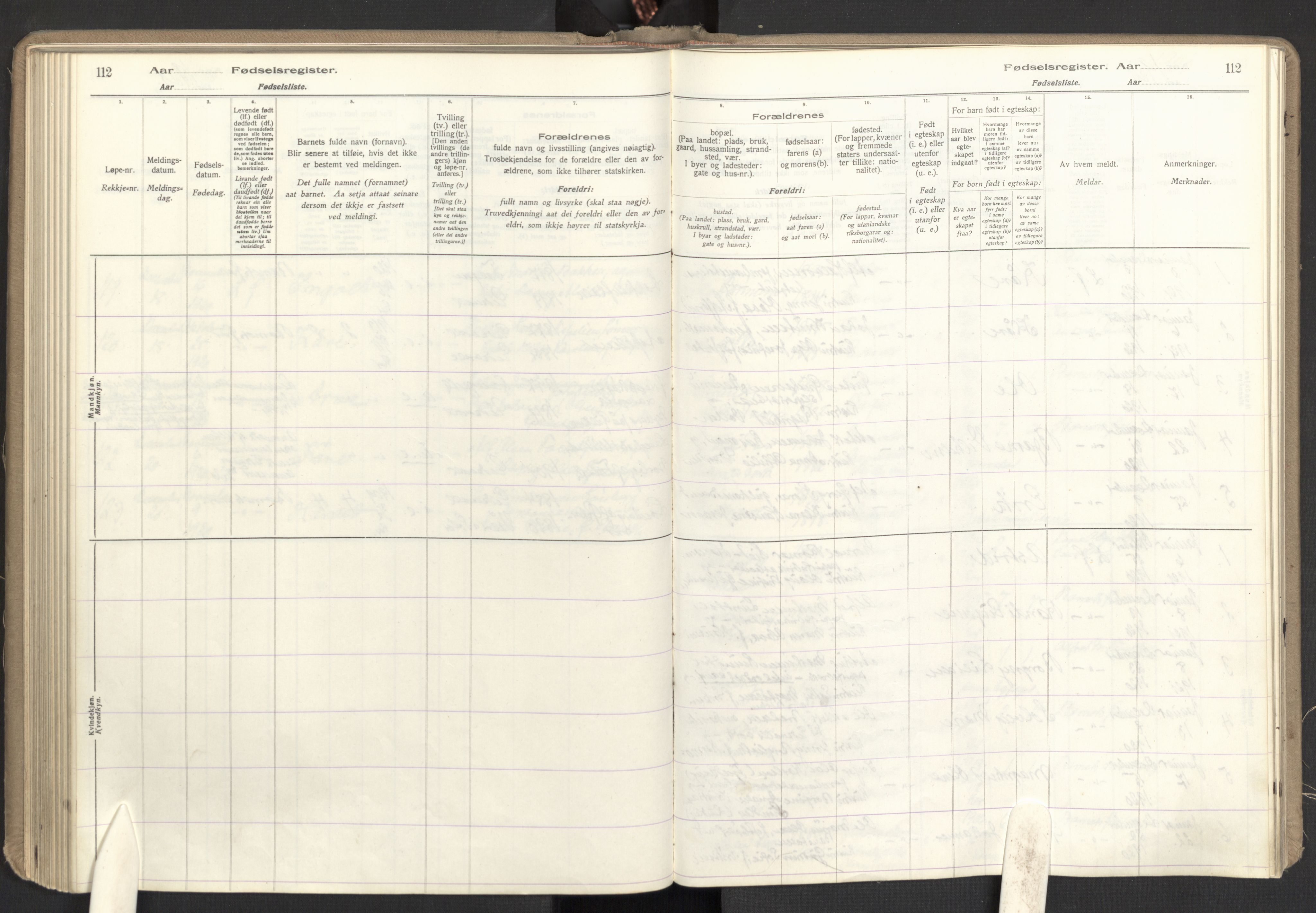 SAO, Eidsvoll prestekontor Kirkebøker, Birth register no. I 1, 1916-1924, p. 112
