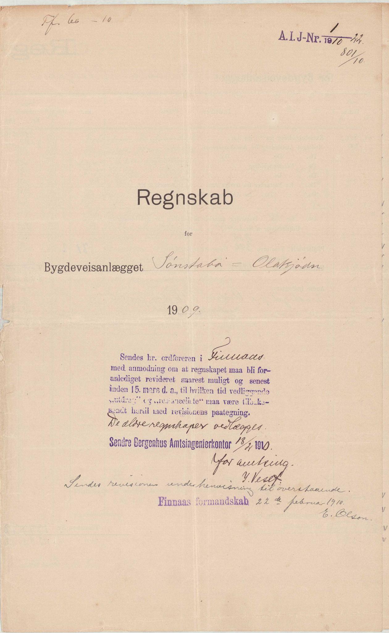 IKAH, Finnaas kommune. Formannskapet, E/Ea/L0001: Rekneskap for veganlegg, 1909-1914, p. 1