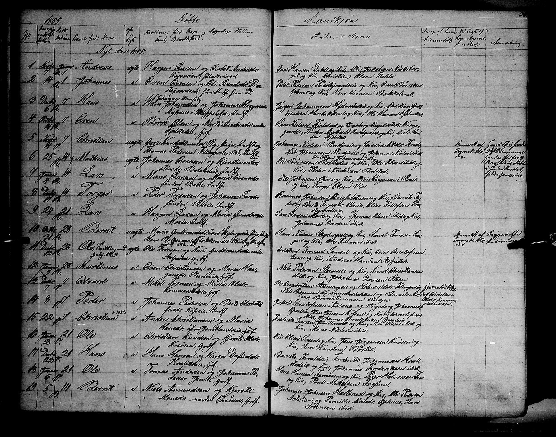 SAH, Ringsaker prestekontor, K/Ka/L0009: Parish register (official) no. 9, 1850-1860, p. 36