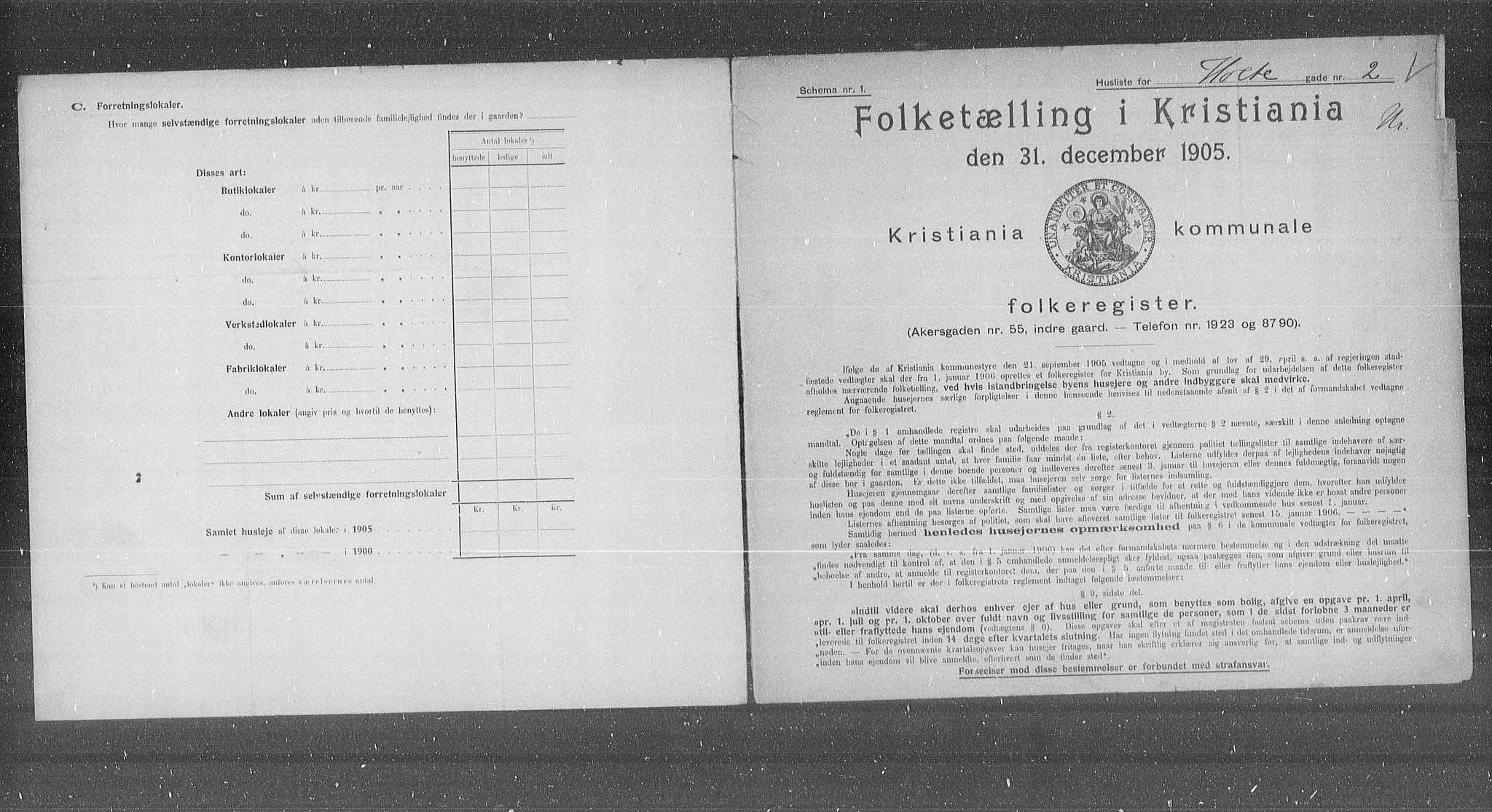 OBA, Municipal Census 1905 for Kristiania, 1905, p. 21365
