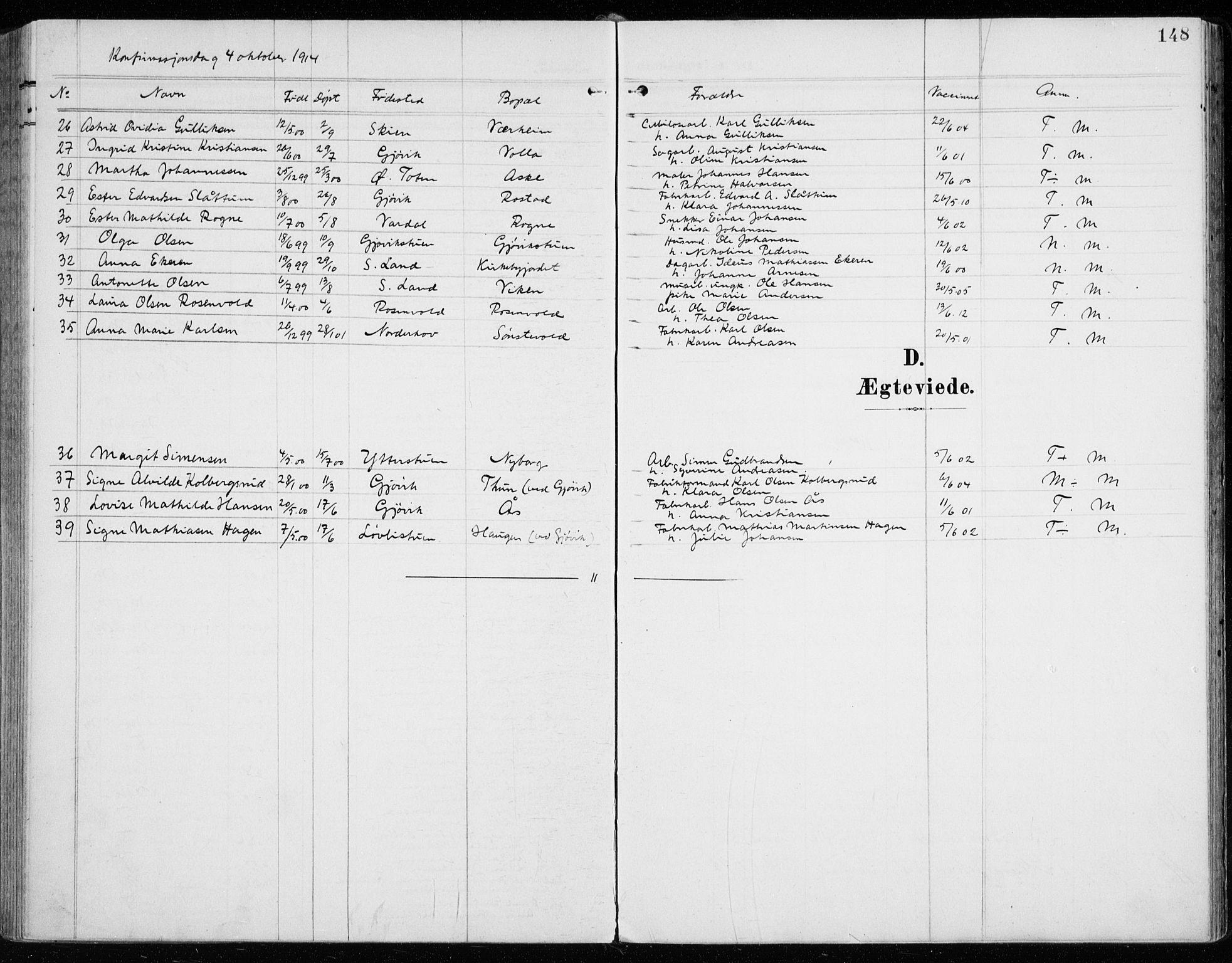 SAH, Vardal prestekontor, H/Ha/Haa/L0016: Parish register (official) no. 16, 1904-1916, p. 148