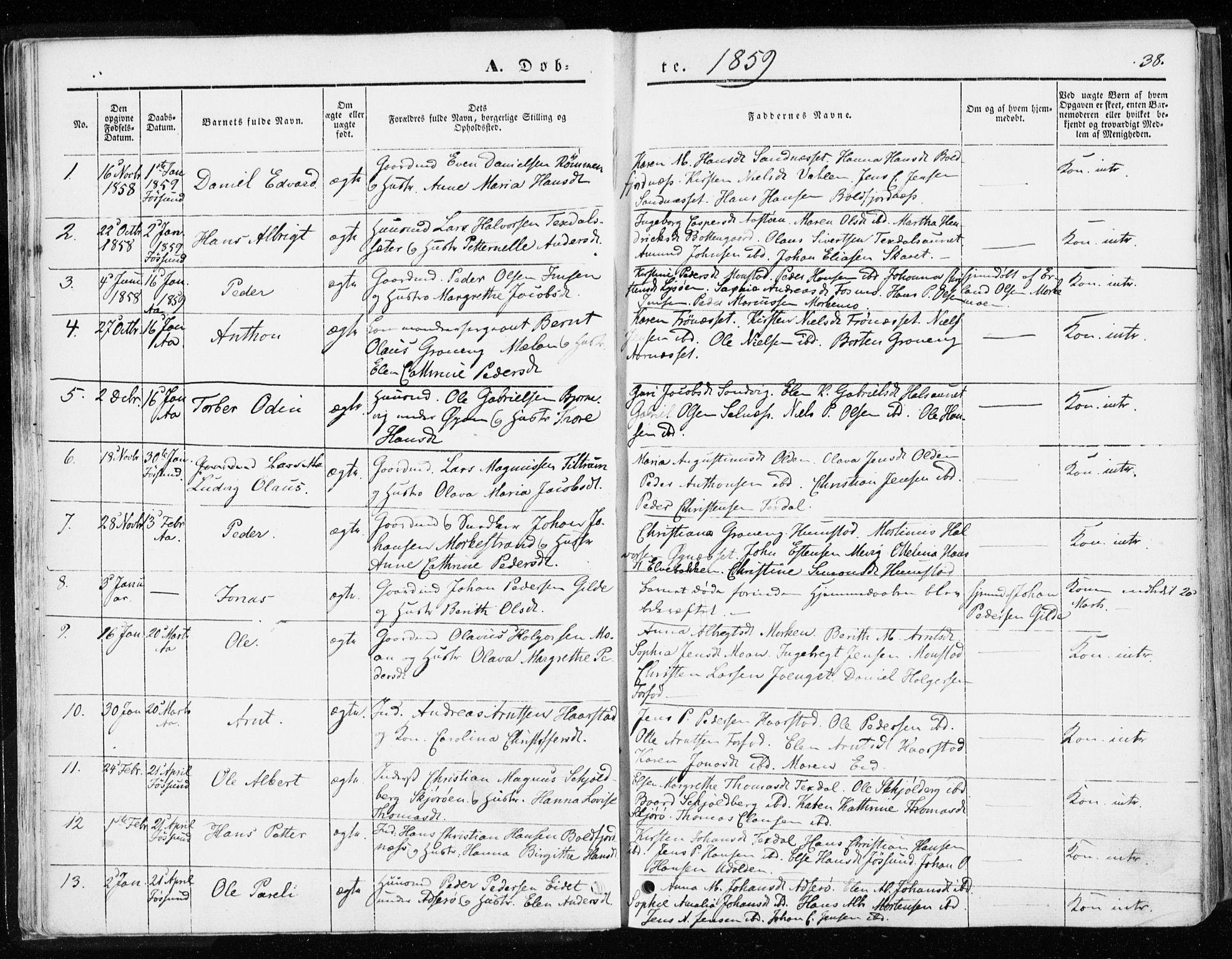 SAT, Ministerialprotokoller, klokkerbøker og fødselsregistre - Sør-Trøndelag, 655/L0677: Parish register (official) no. 655A06, 1847-1860, p. 38