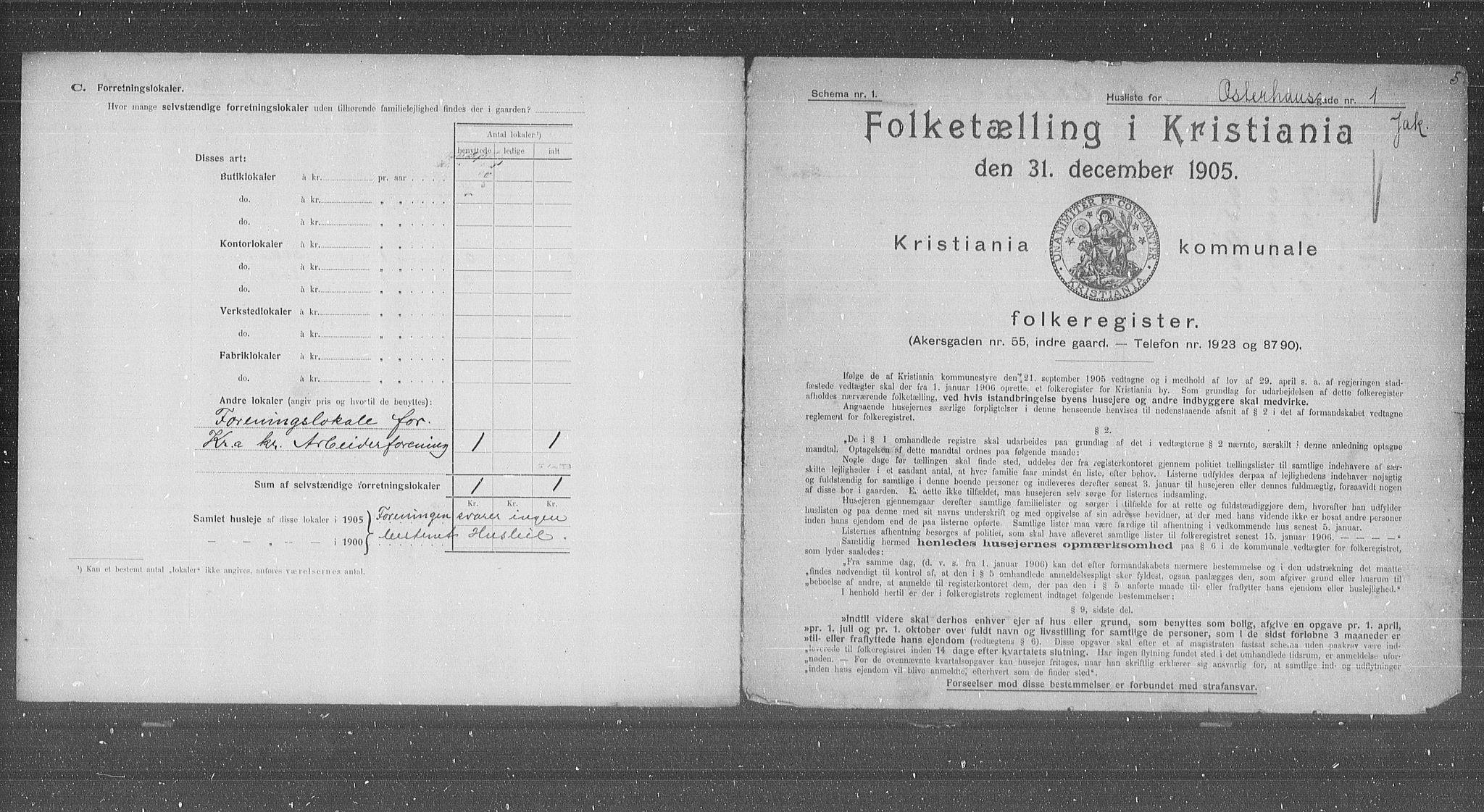 OBA, Municipal Census 1905 for Kristiania, 1905, p. 40697