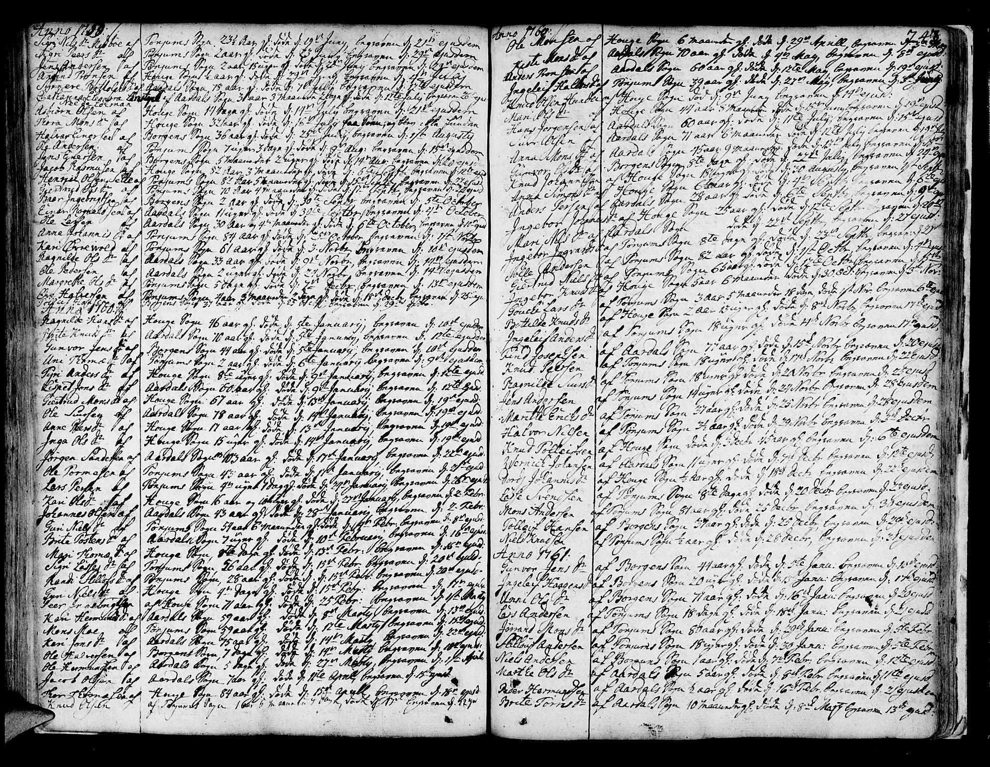 SAB, Lærdal sokneprestembete, Parish register (official) no. A 2, 1752-1782, p. 243